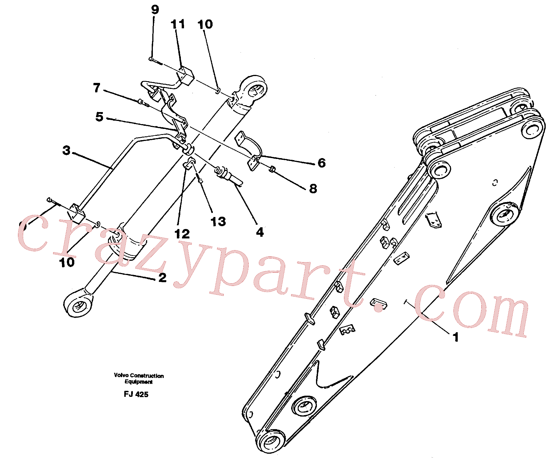 VOE14053582 for Volvo Hydraulic system, dipperarm(FJ425 assembly)