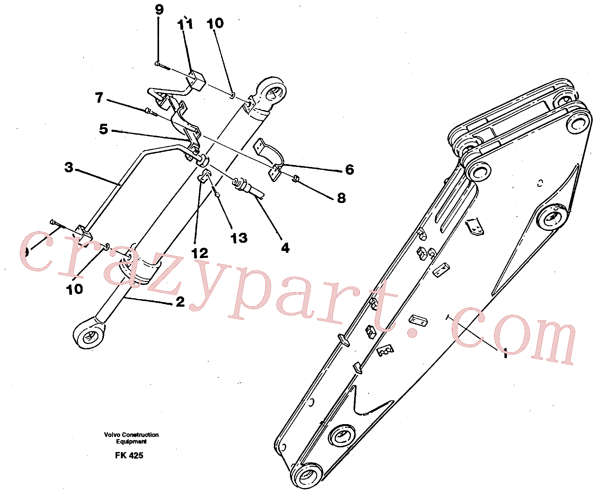 VOE14053582 for Volvo Hydraulic system, dipperarm(FK425 assembly)