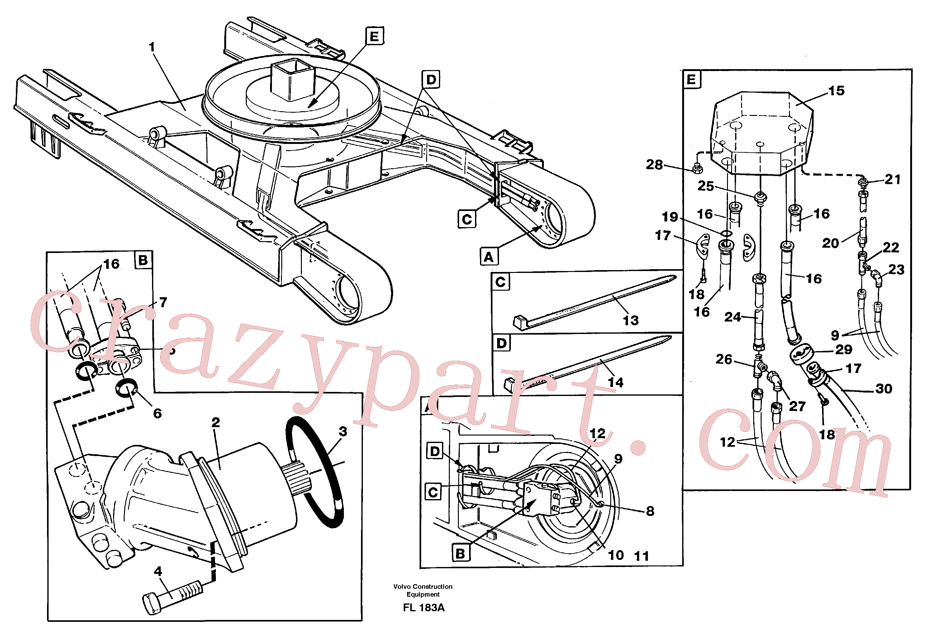 VOE14340994 for Volvo Travel motor hydraulics, undercarriage(FL183A assembly)