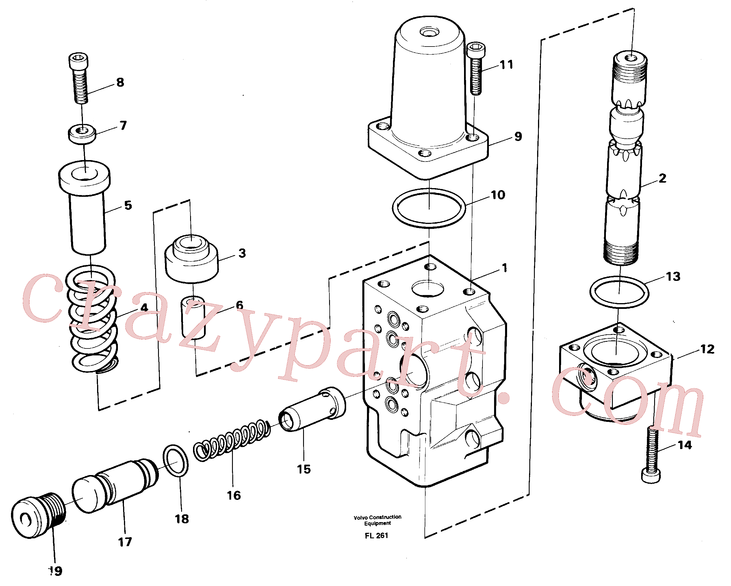 VOE14046451 for Volvo Four-way valve, boom primary(FL261 assembly)