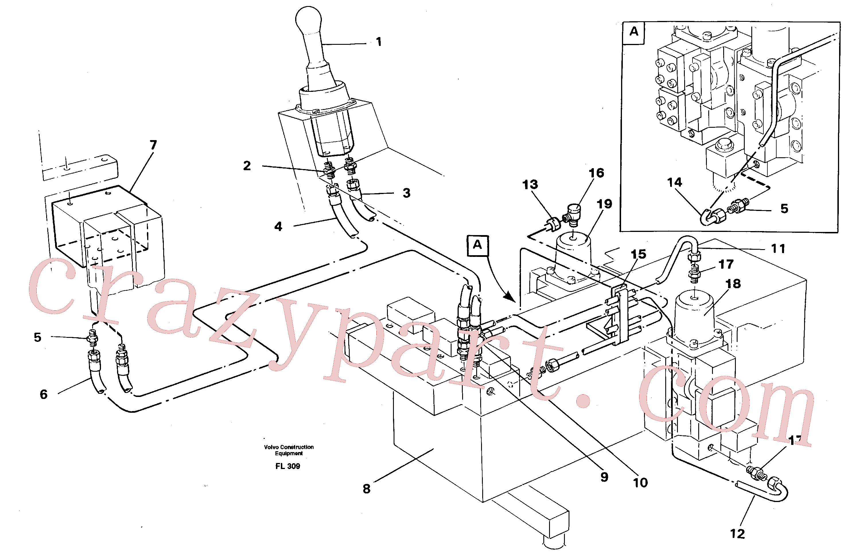VOE14246658 for Volvo Servo hydraulics, dipper arm(FL309 assembly)