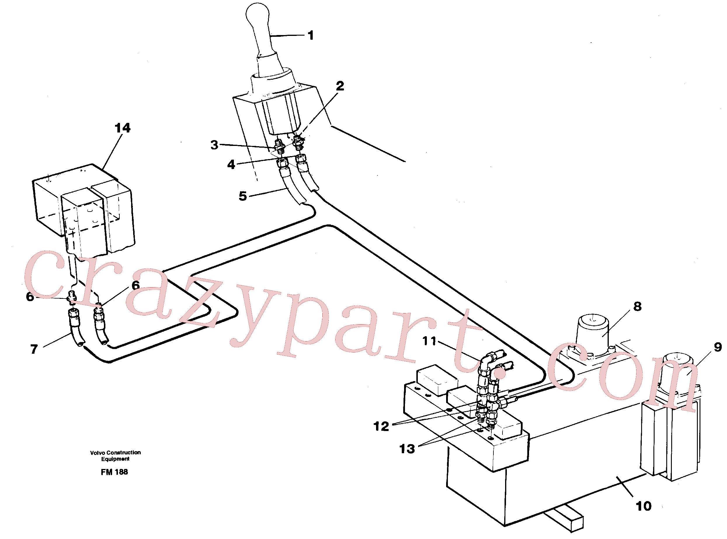 VOE14264523 for Volvo Servo hydraulics, dipper arm(FM188 assembly)