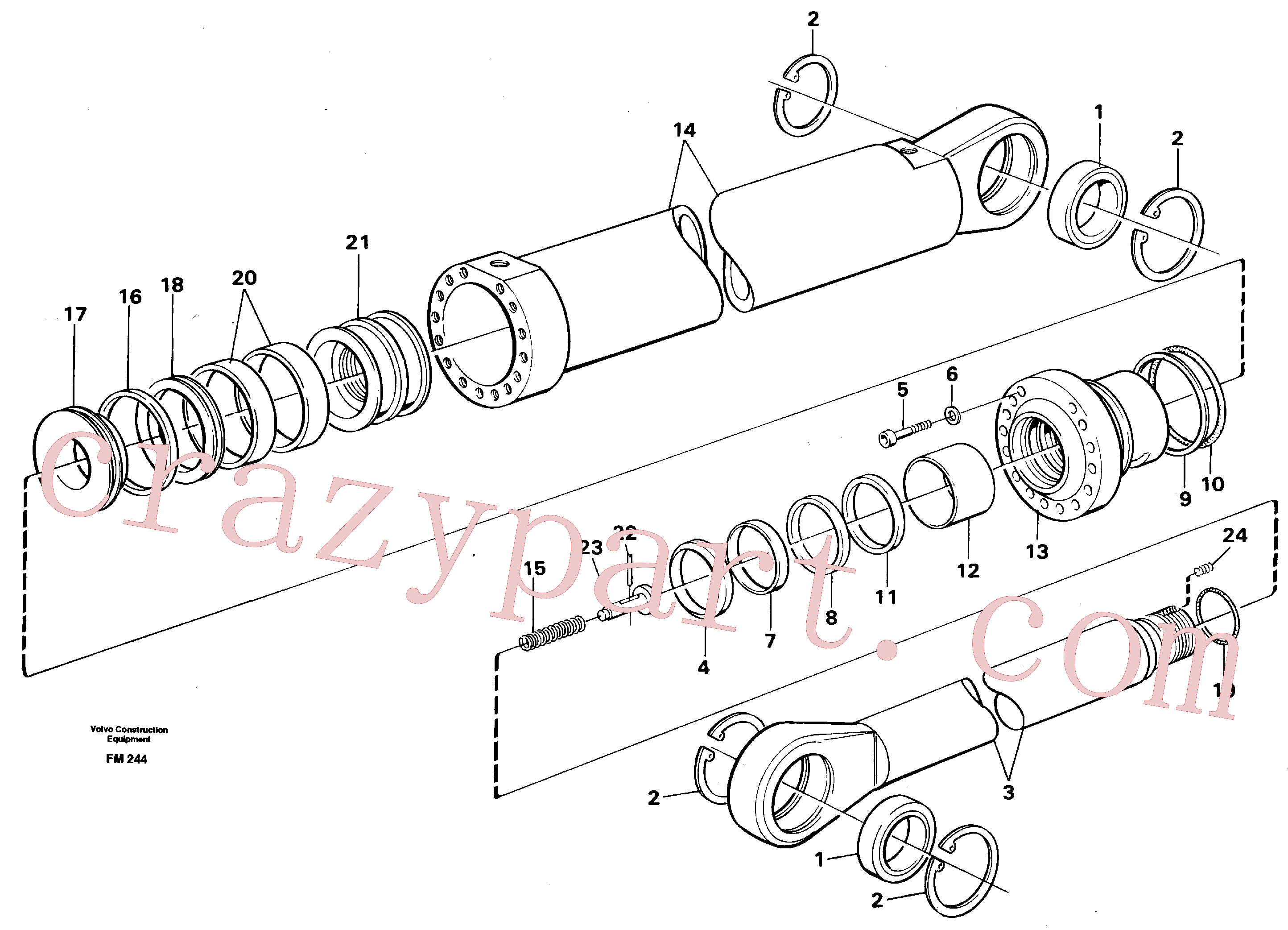 VOE14216286 for Volvo Boom cylinder,m.e.(FM244 assembly)