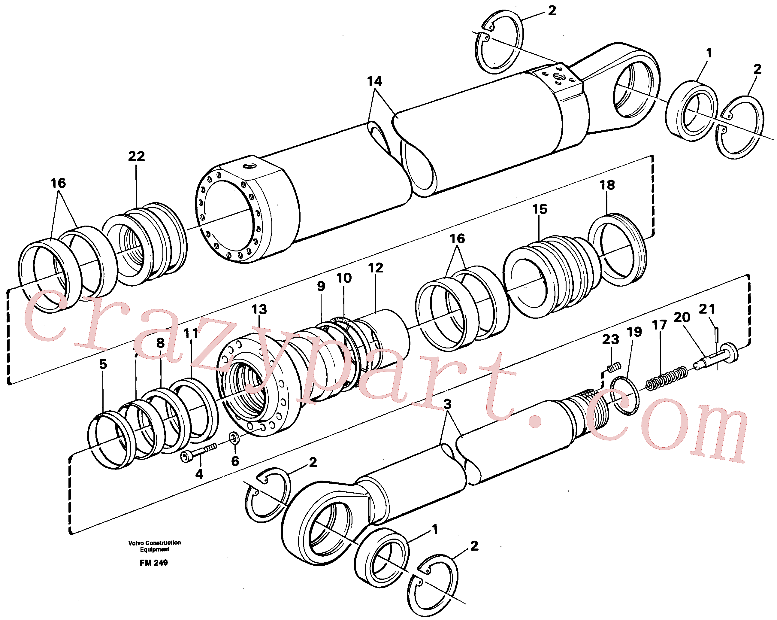 VOE14252335 for Volvo Dipper arm cylinder, material handling equipment(FM249 assembly)