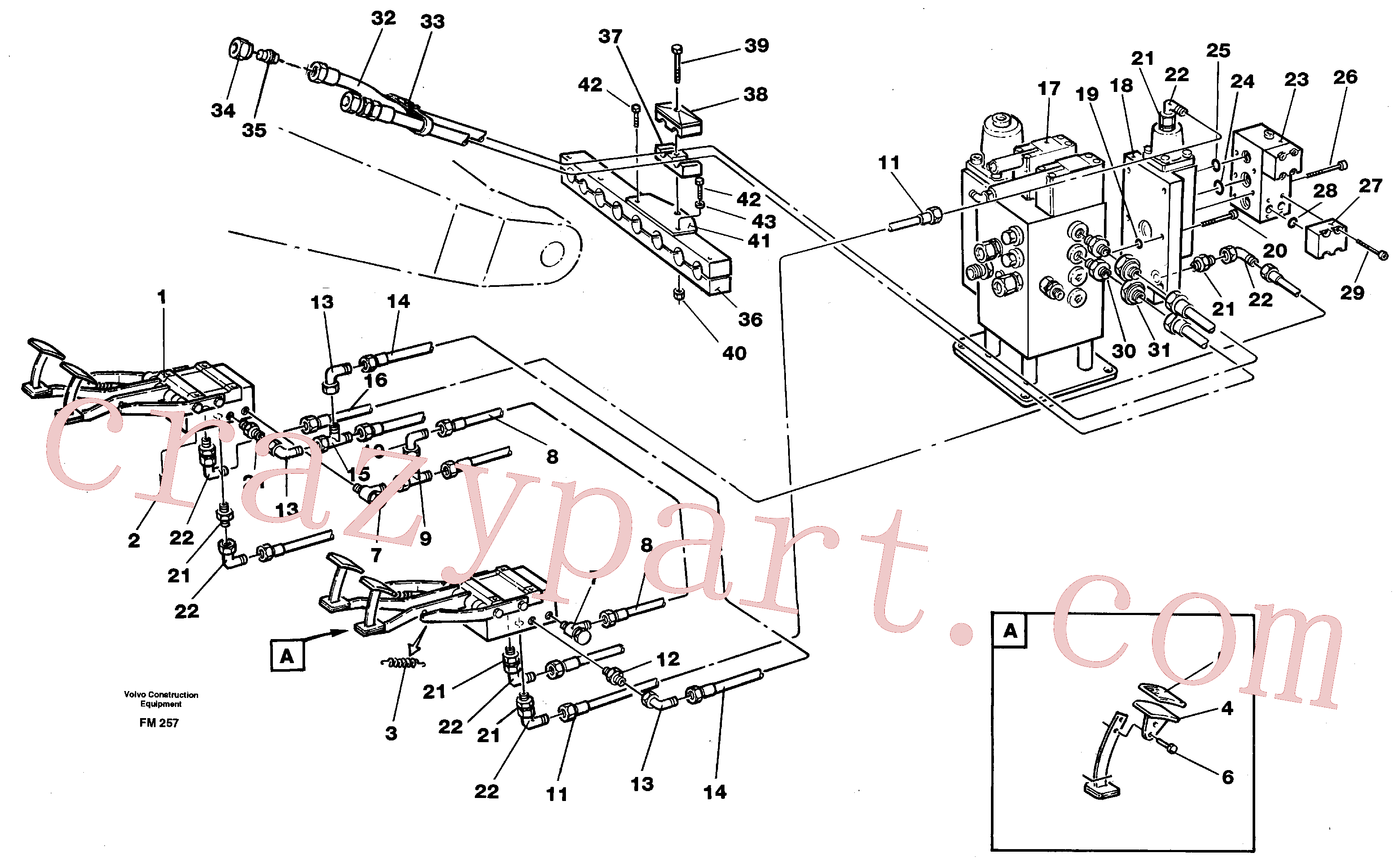 VOE14211062 for Volvo Pedal operated slope bucket hydraulics in base machine(FM257 assembly)
