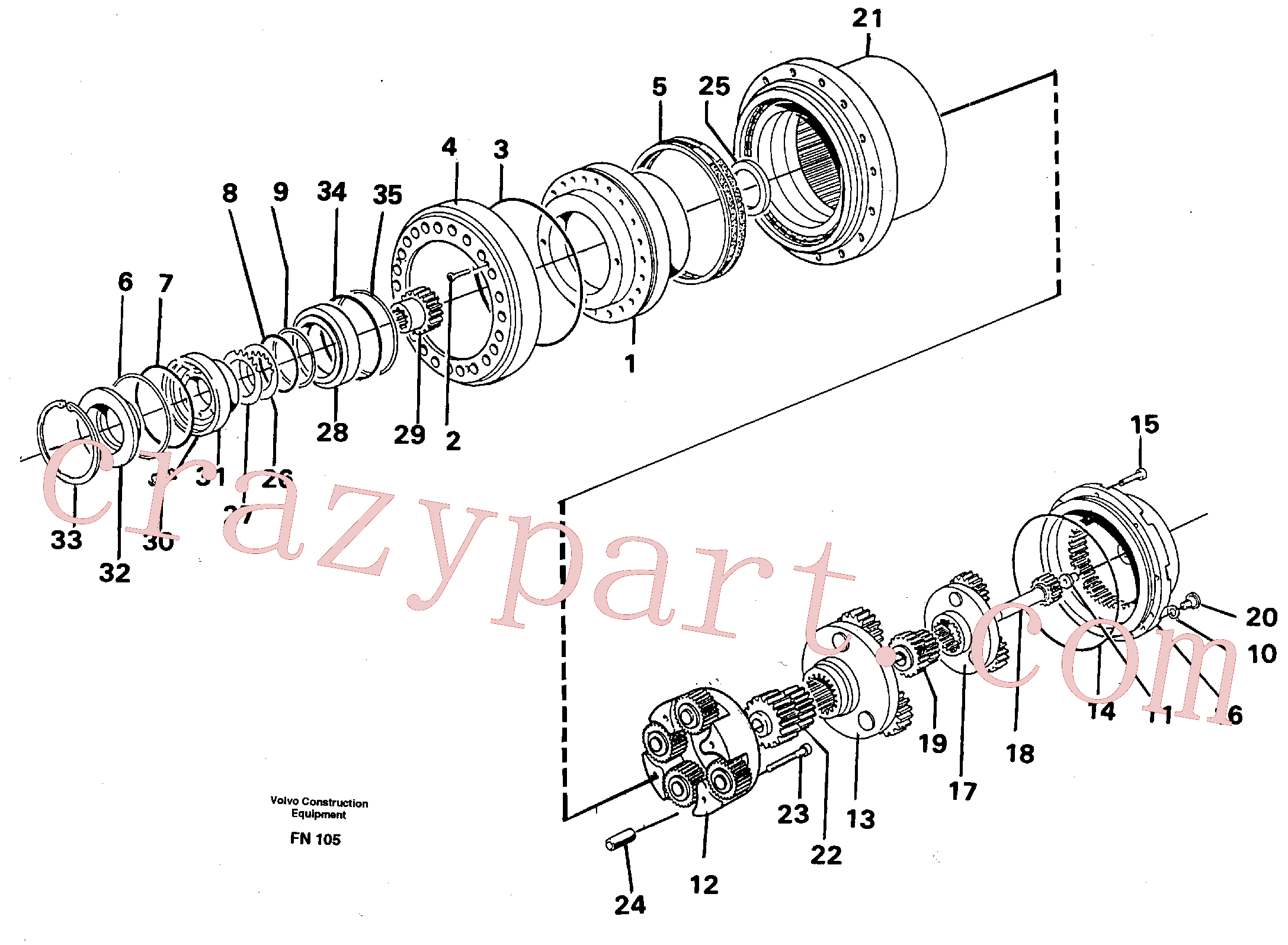 RM70921267 for Volvo Planetary drive(FN105 assembly)