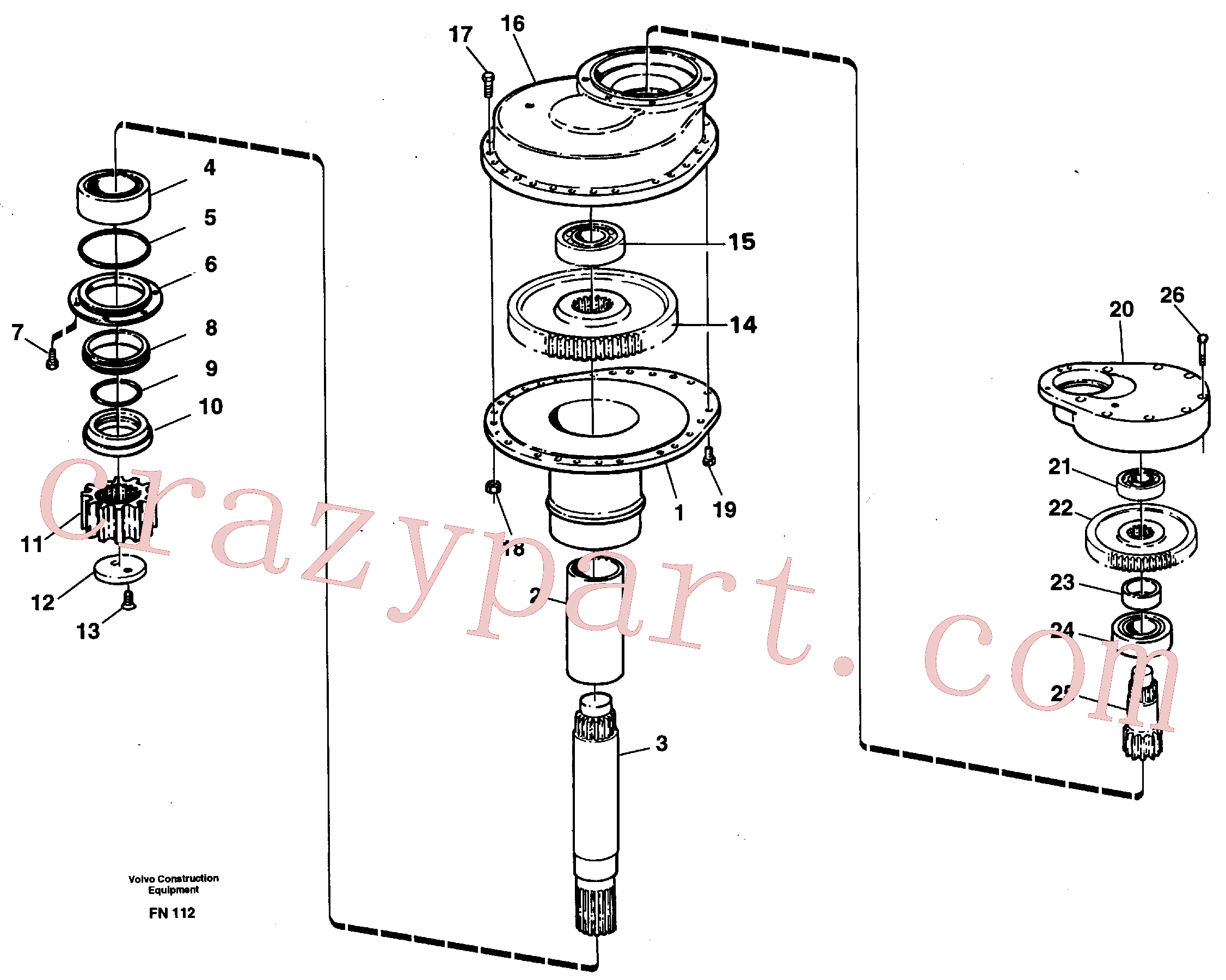 VOE14048756 for Volvo Swing gearbox(FN112 assembly)