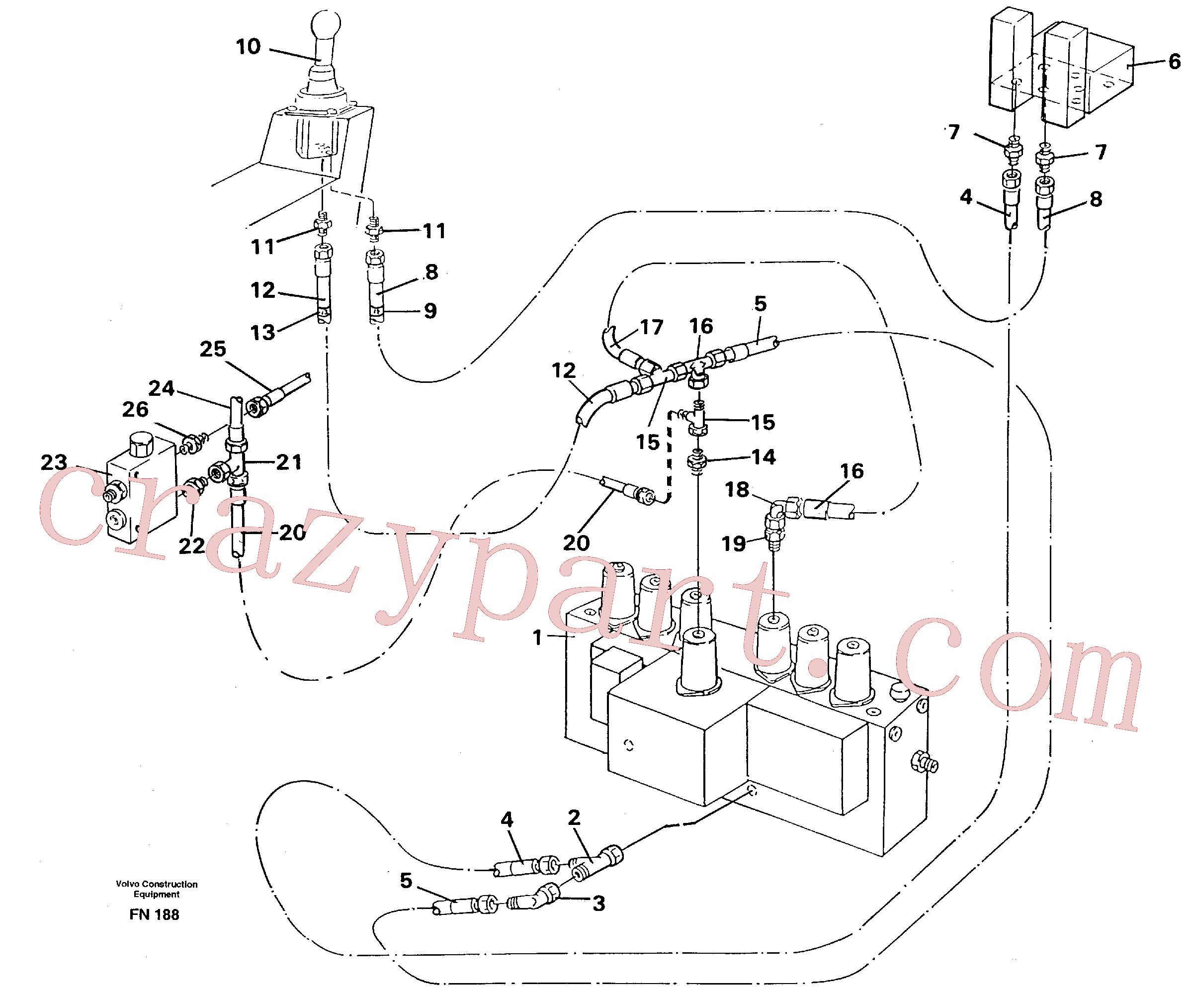 VOE14250303 for Volvo Servo hydraulics, dipper arm(FN188 assembly)