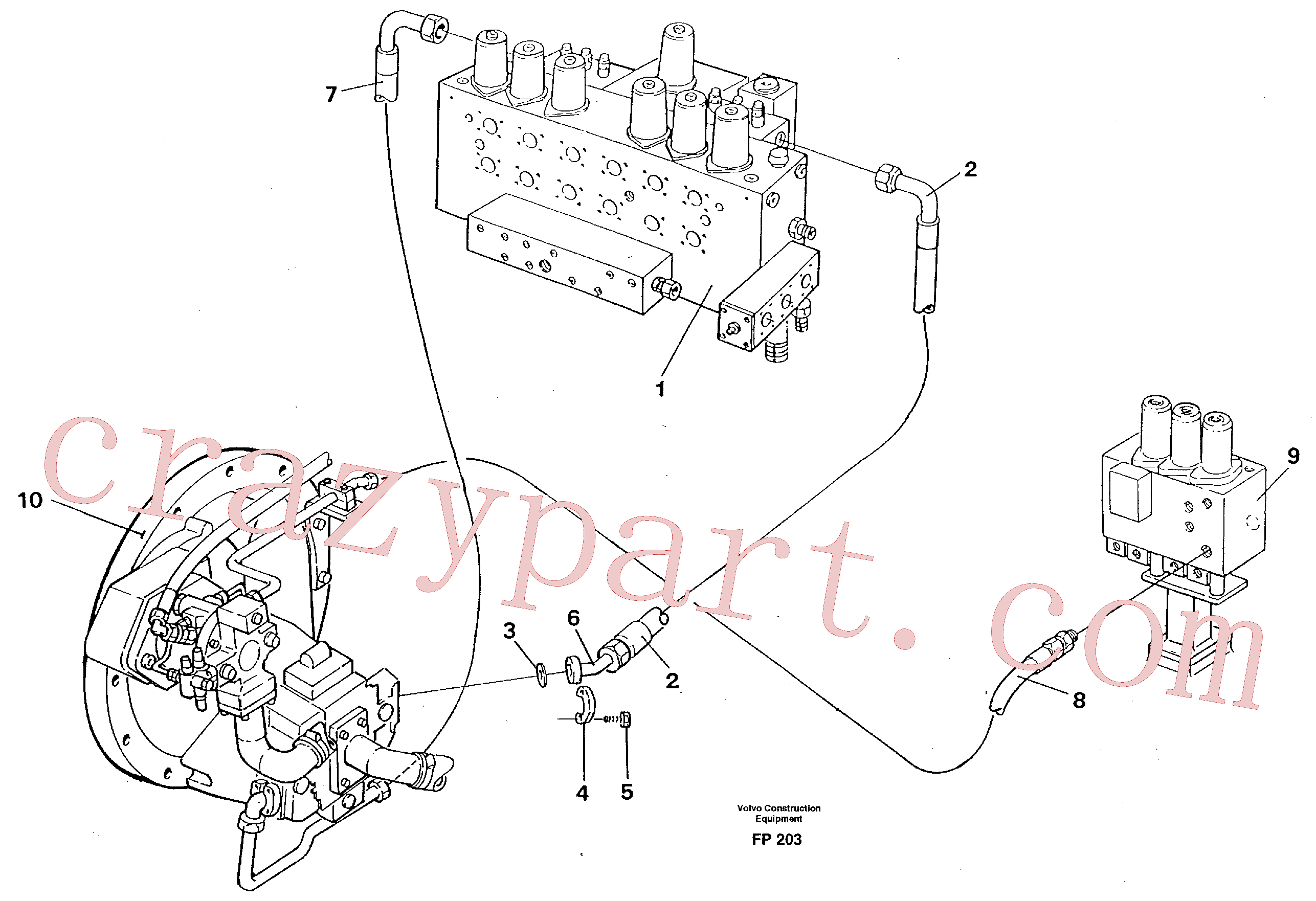 VOE14267482 for Volvo Hydraulic system, feed line(FP203 assembly)