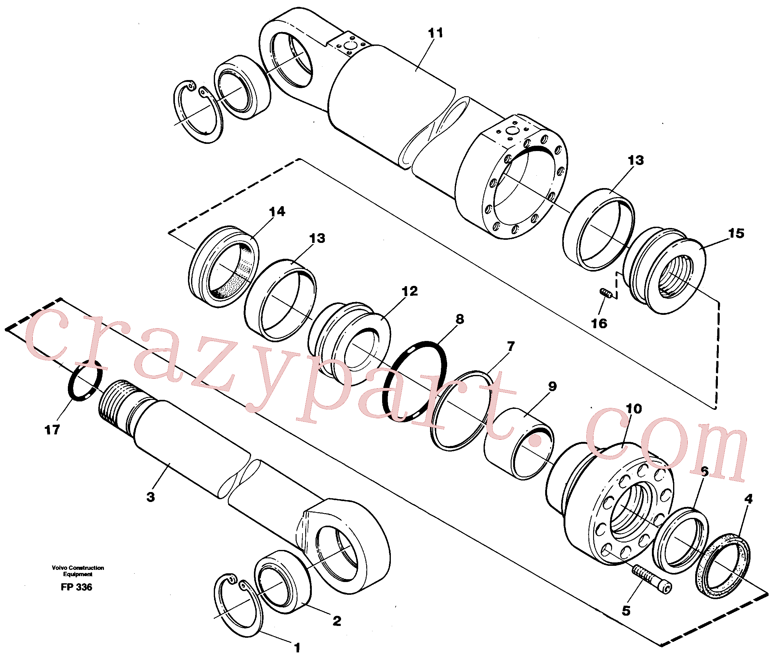 VOE14245985 for Volvo Hydraulic cylinder, dozer blade(FP336 assembly)