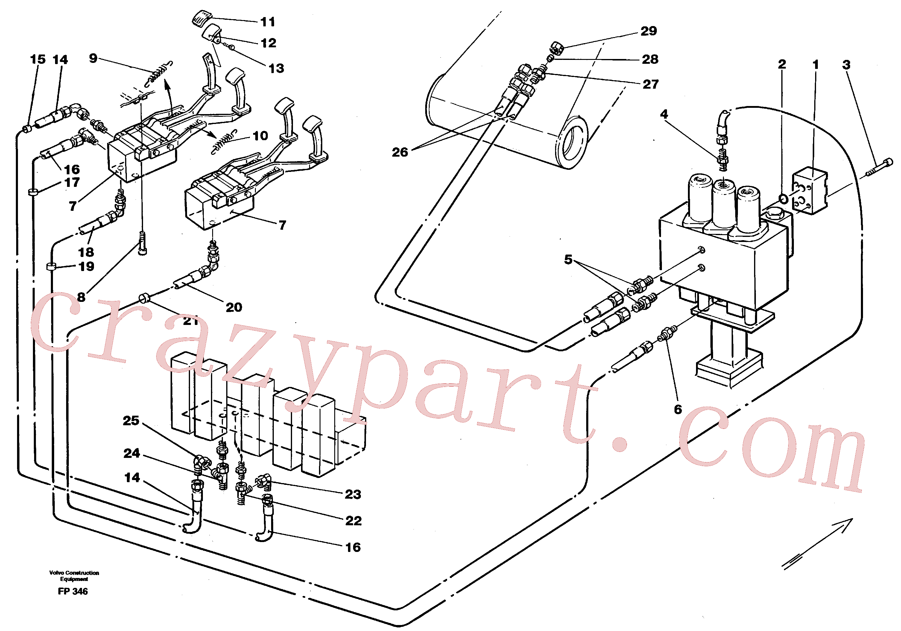 VOE14243548 for Volvo Slope bucket/rotating grab hydraulics in base machine(FP346 assembly)
