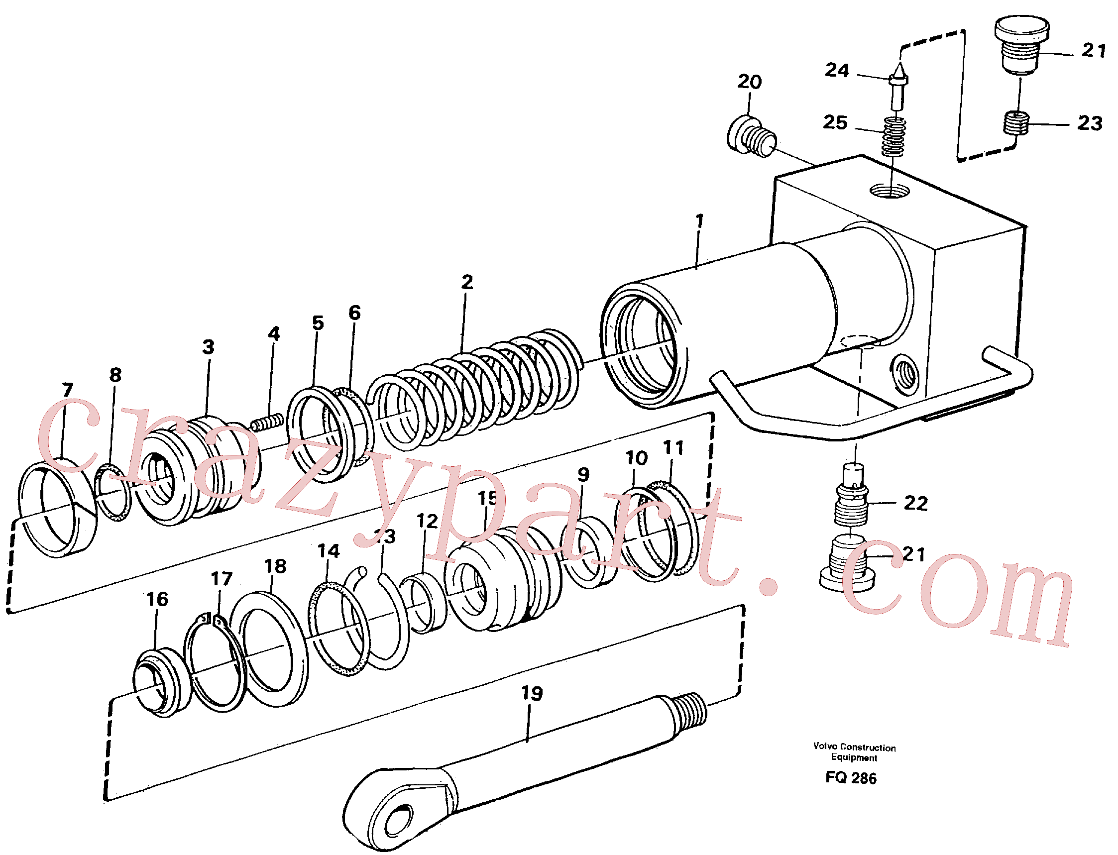 VOE14212818 for Volvo Hydraulic cylinder, quick attachment(FQ286 assembly)