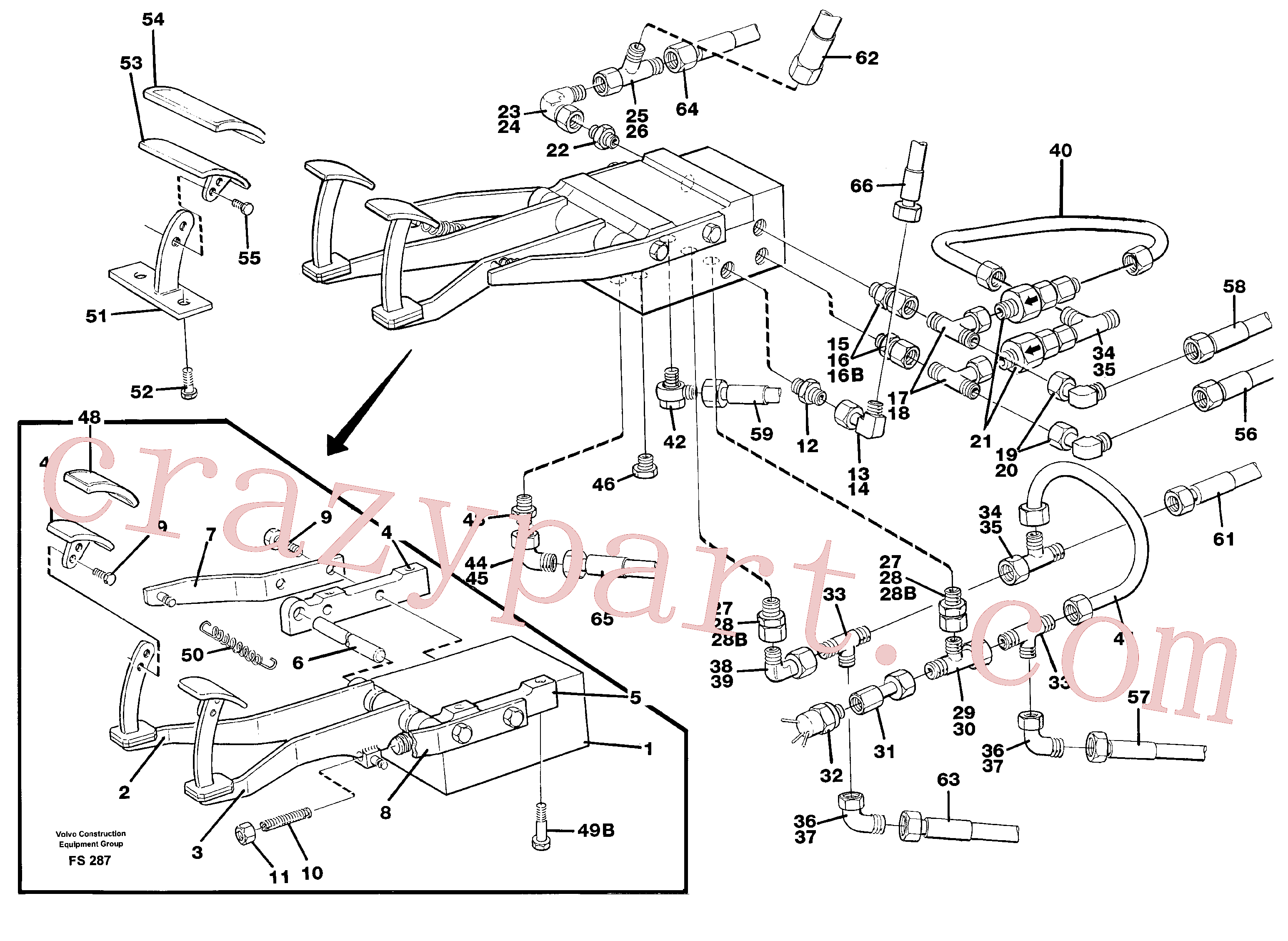 VOE14243548 for Volvo Pedal valve with foot rest and fittings(FS287 assembly)