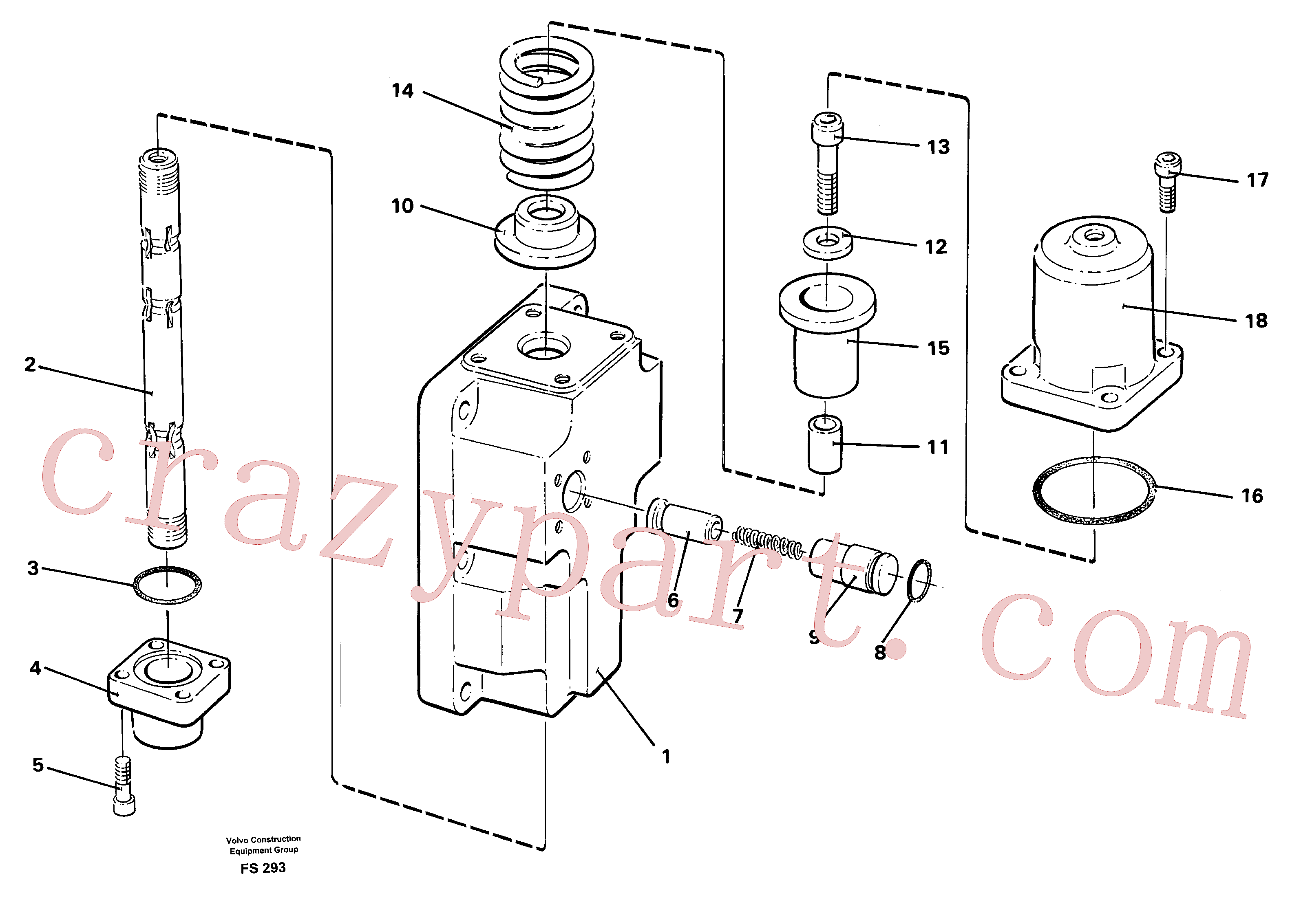 VOE14040428 for Volvo Four-way valve for slewing(FS293 assembly)