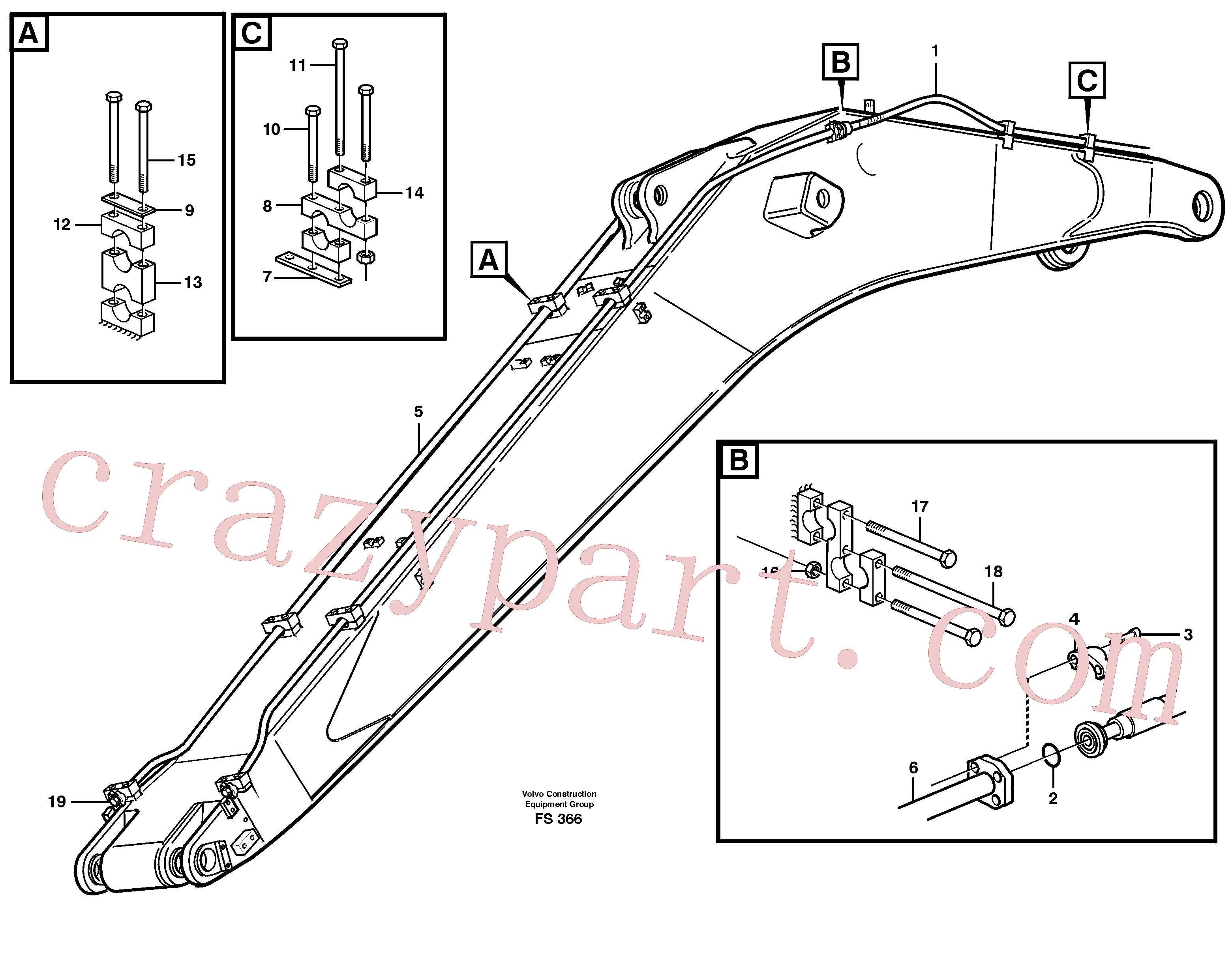 VOE13970984 for Volvo Hydraulics for hammer on boom 6.65 M(FS366 assembly)