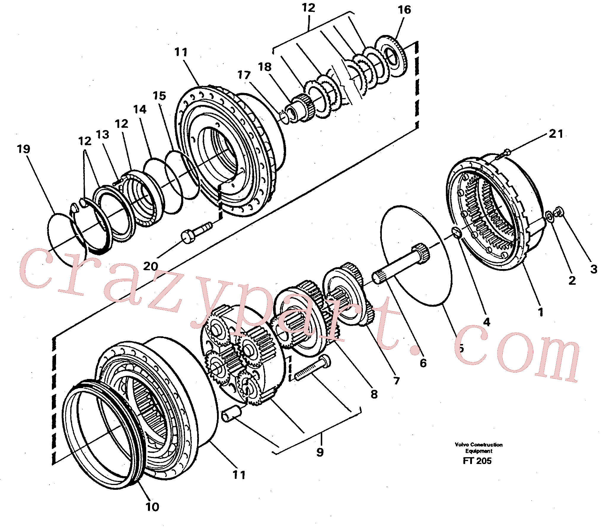 VOE11704235 for Volvo Planetary gear, travel(FT205 assembly)