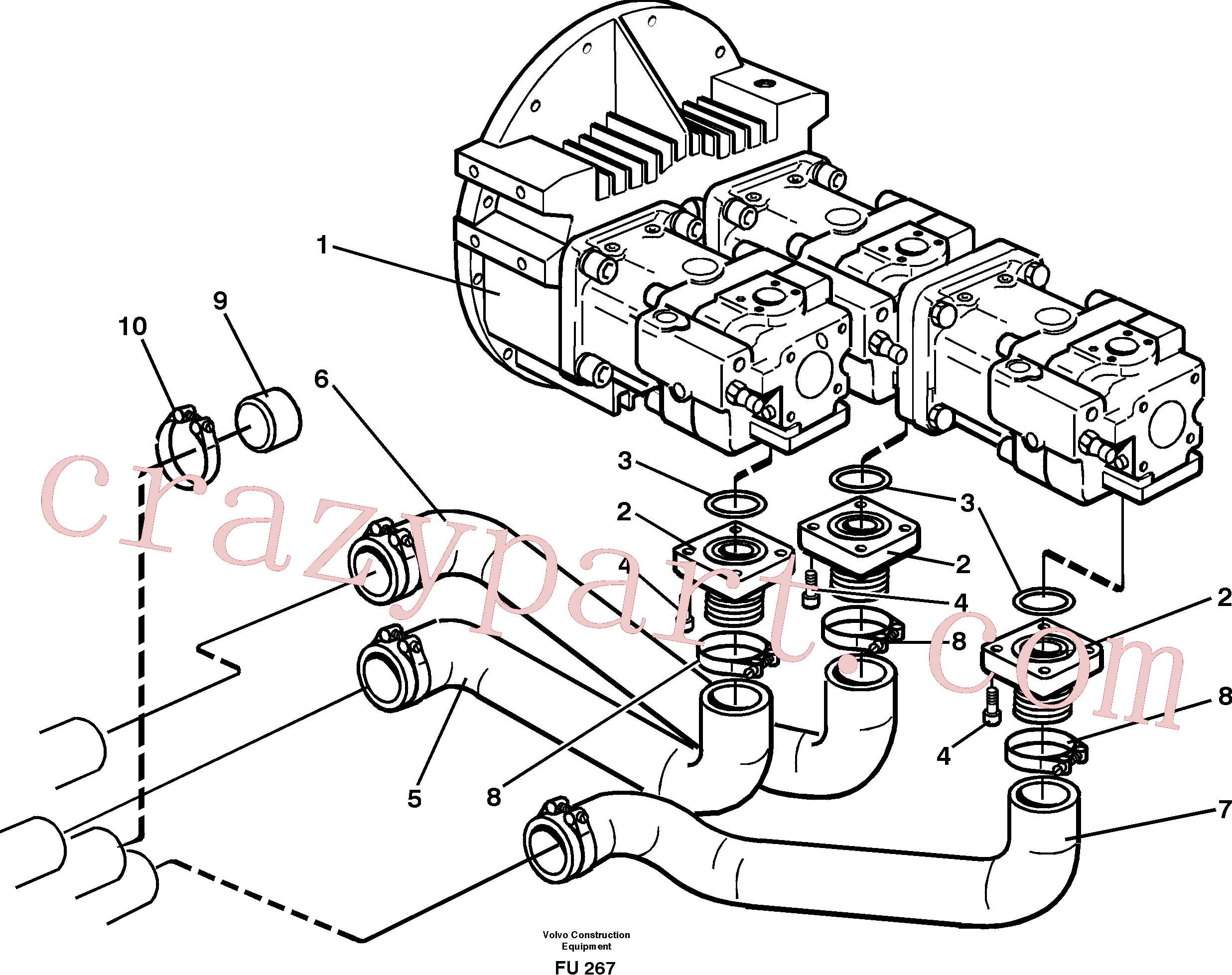 VOE14346208 for Volvo Hydraulic system suction lines(FU267 assembly)