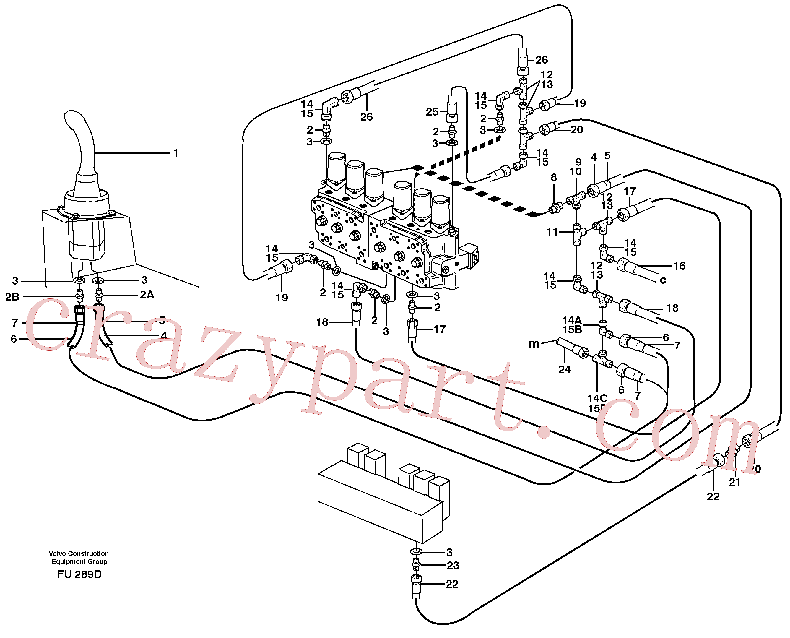 VOE14341573 for Volvo Servo hydraulics, dipper arm(FU289D assembly)