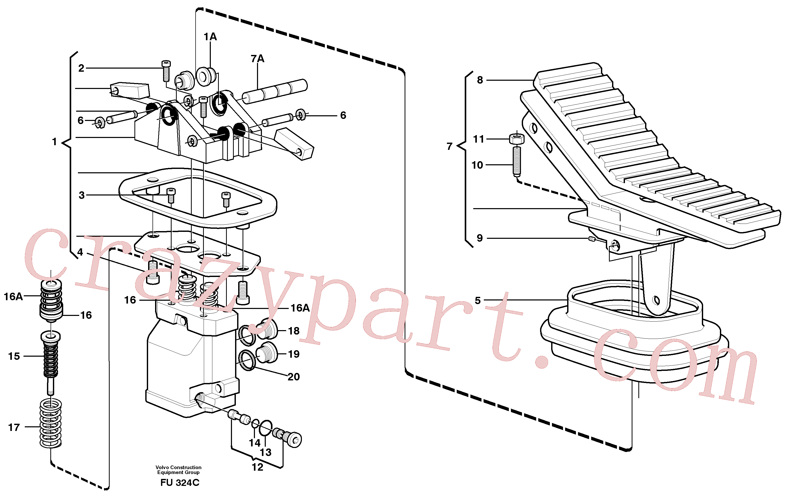 VOE11702893 for Volvo Pedal valve(FU324C assembly)