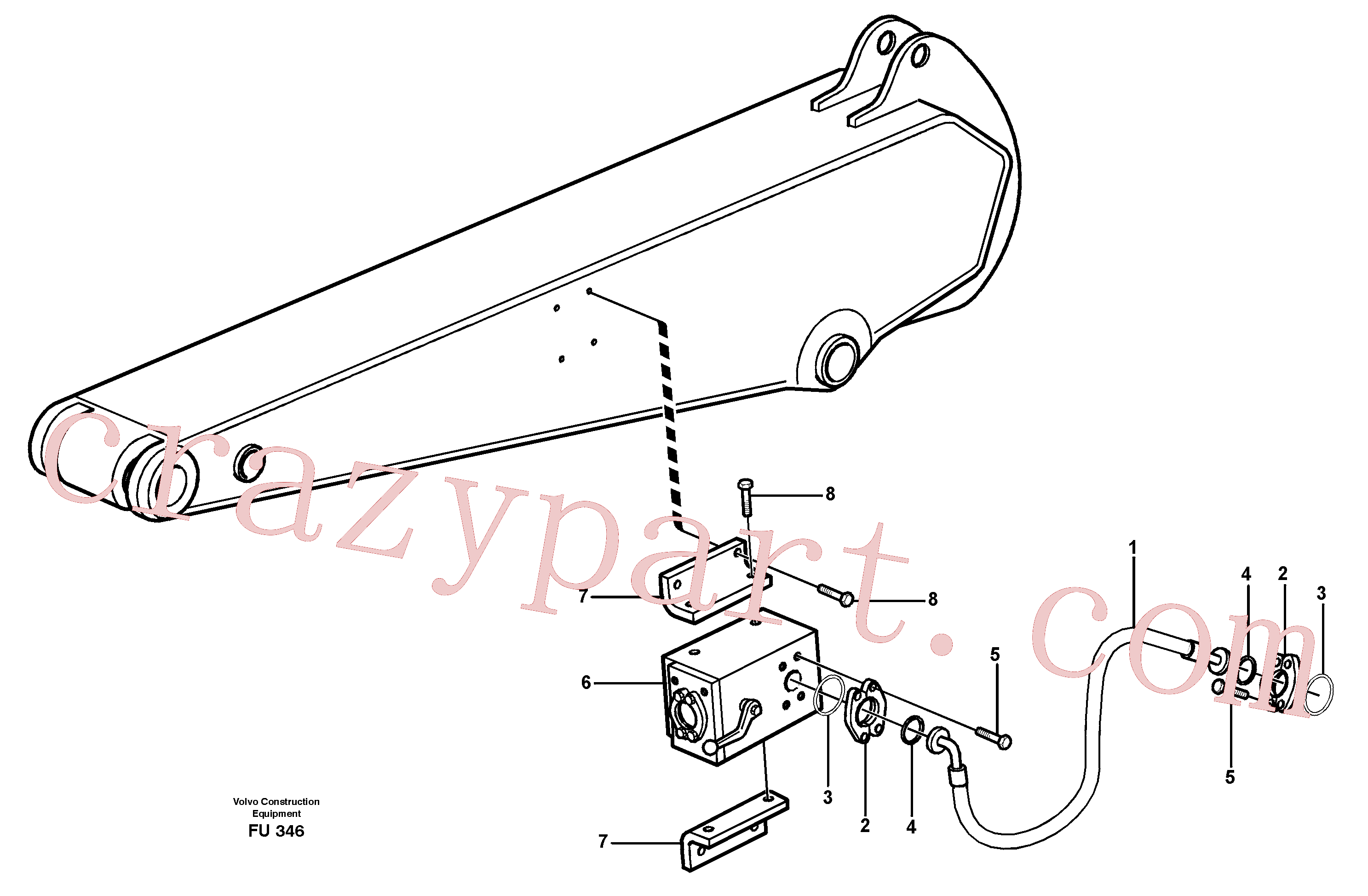 VOE14310135 for Volvo Hammer hydraulics on dipper arm, 2.4 m/ 2.9 m/ 3.5 m/ 4.1m(FU346 assembly)