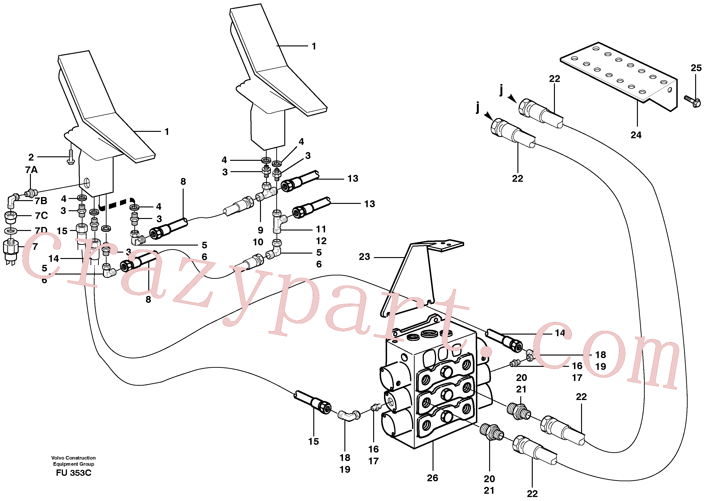 VOE14264523 for Volvo Slope bucket/rotating grab hydraulics in base machine(FU353C assembly)