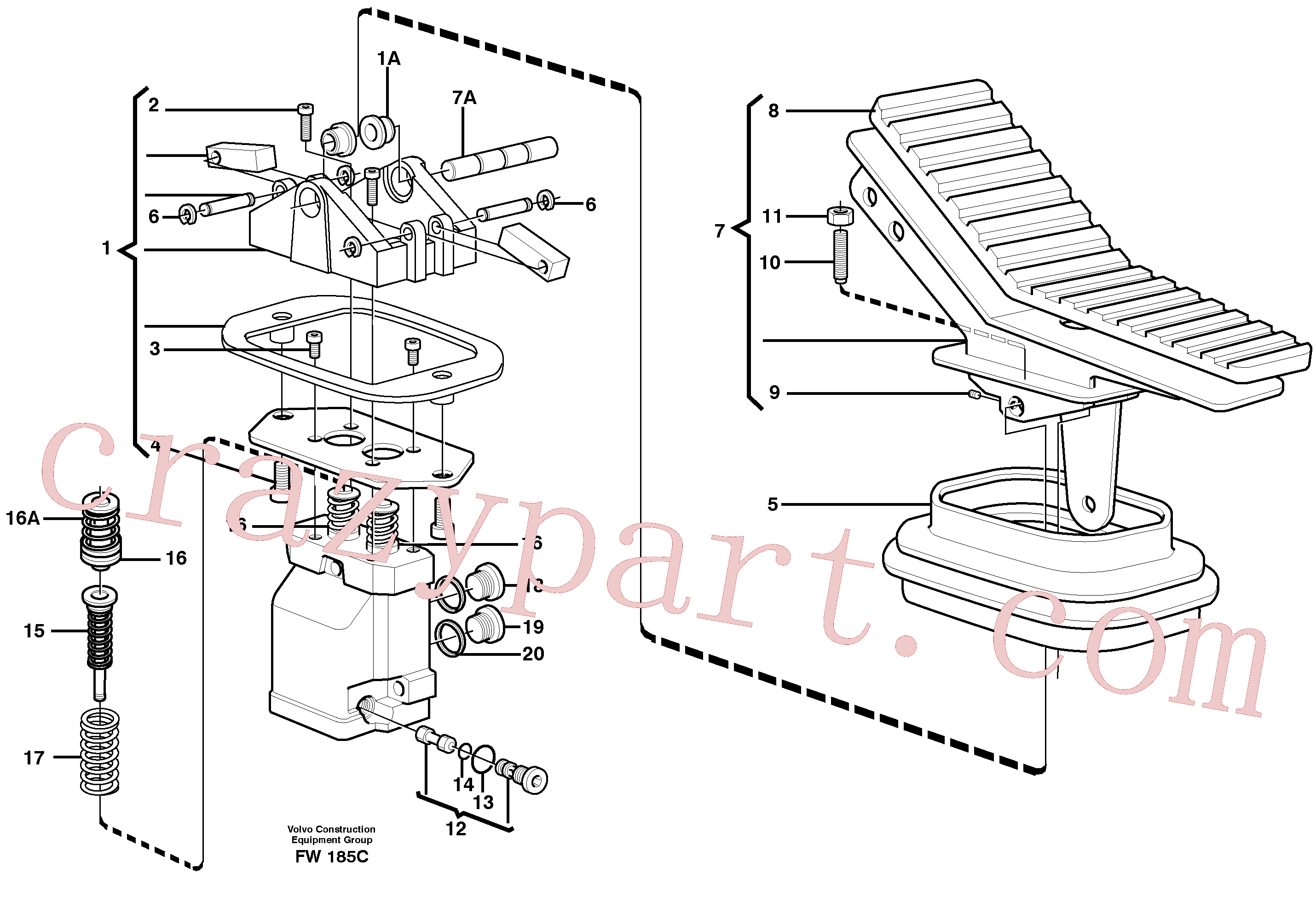 VOE11702893 for Volvo Pedal valve(FW185C assembly)