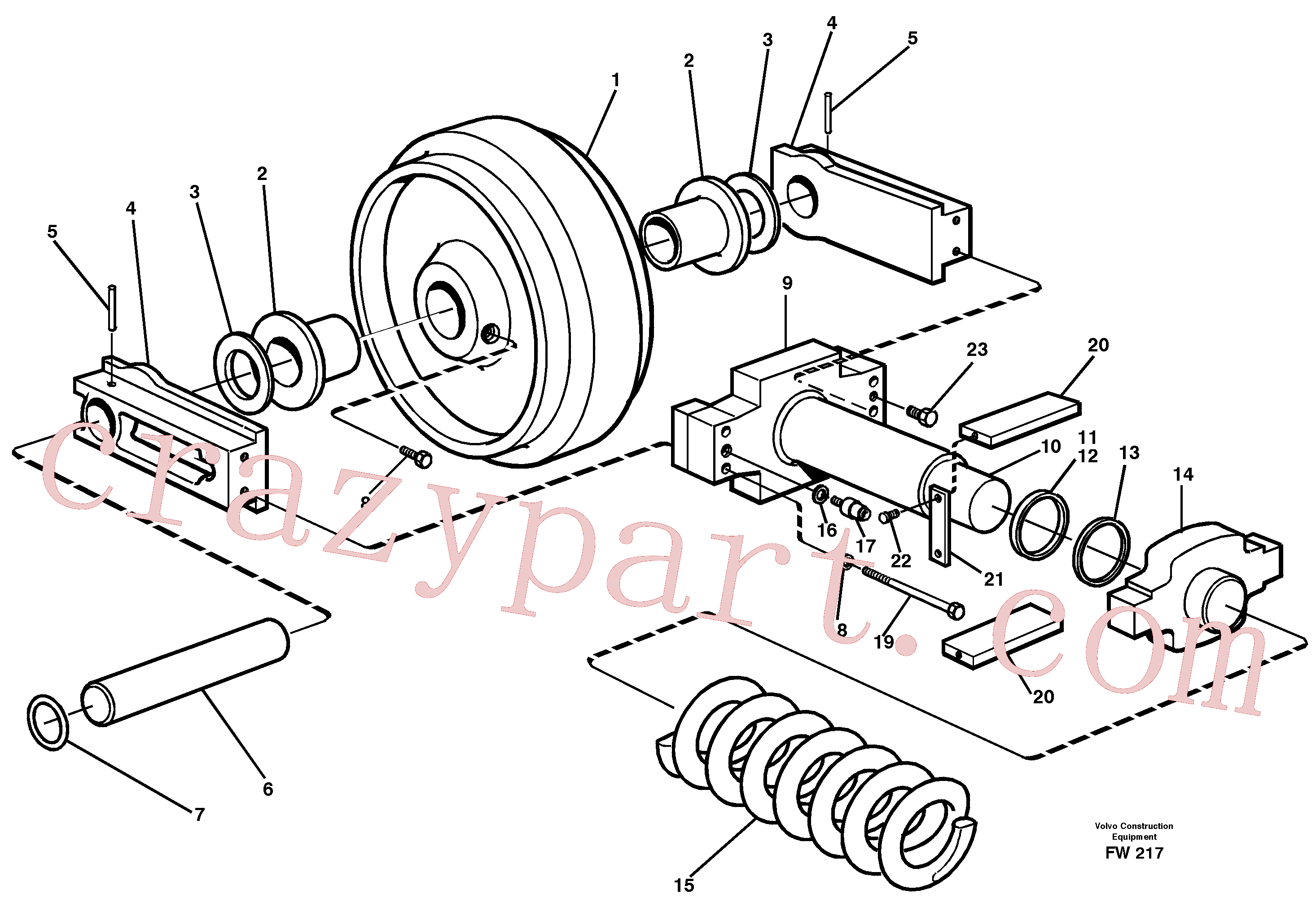 ZM7097118 for Volvo Front idler, spring package(FW217 assembly)