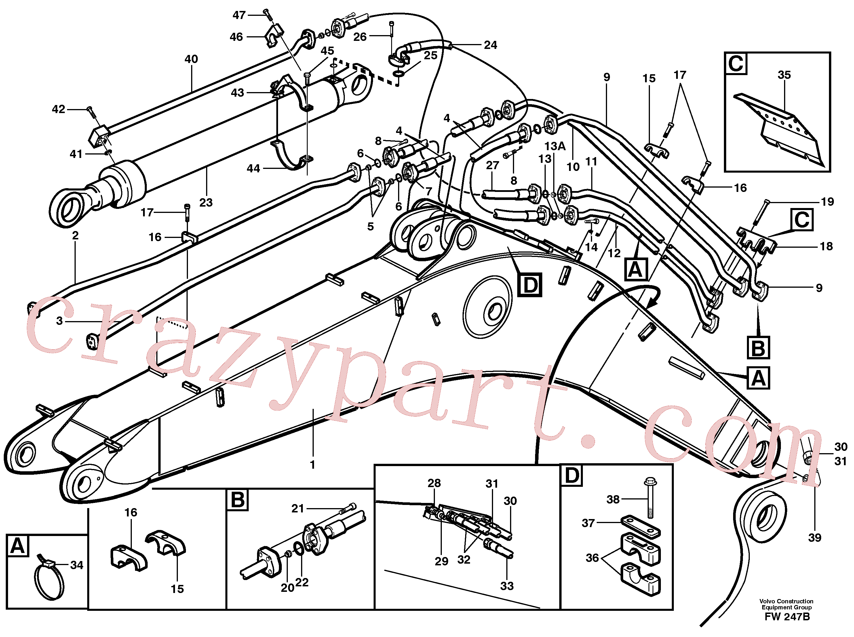 VOE14341499 for Volvo Tubes,assembly, boom(FW247B assembly)