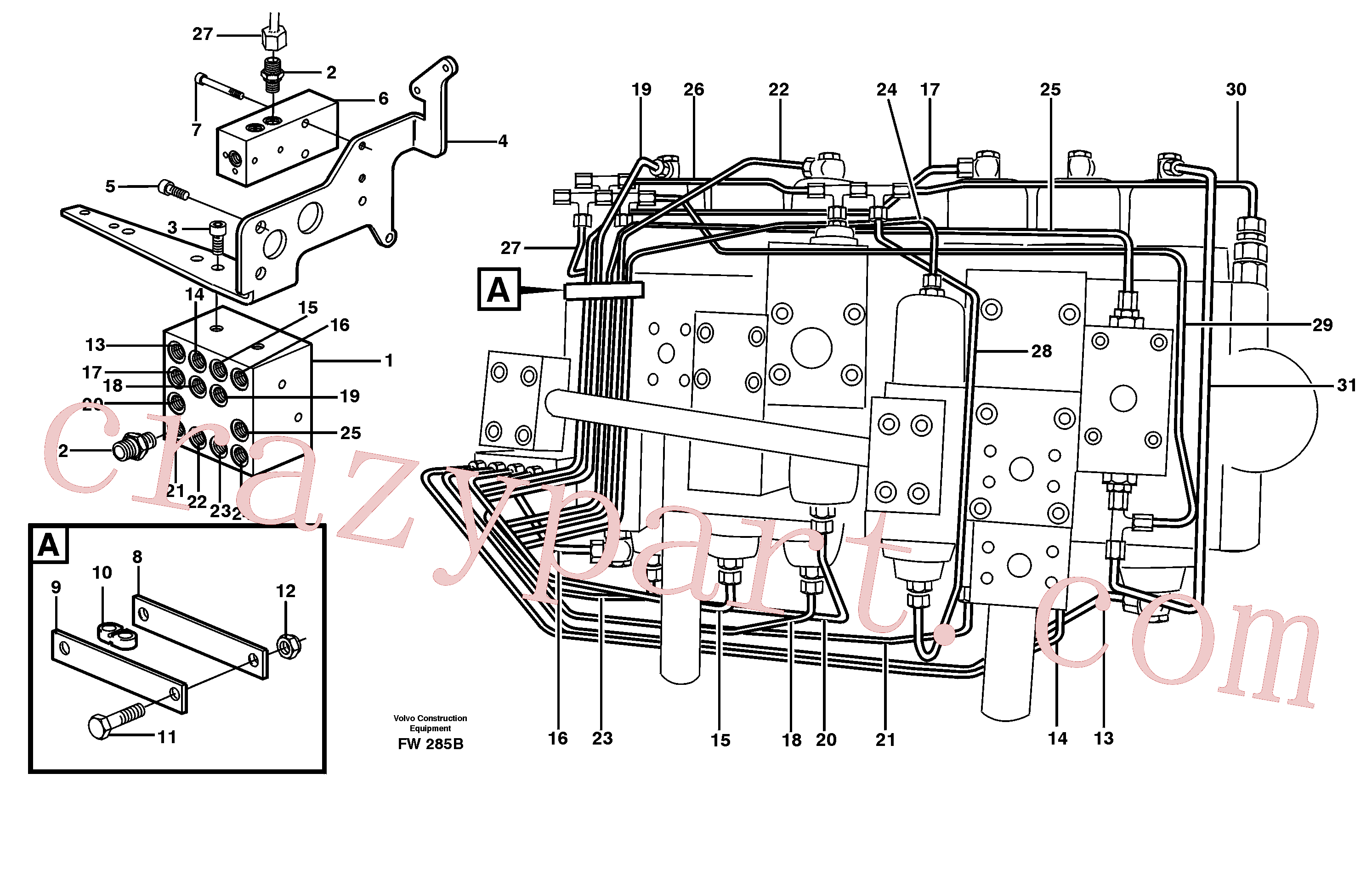 VOE14344897 for Volvo Main valve assembly, tubes connections(FW285B assembly)