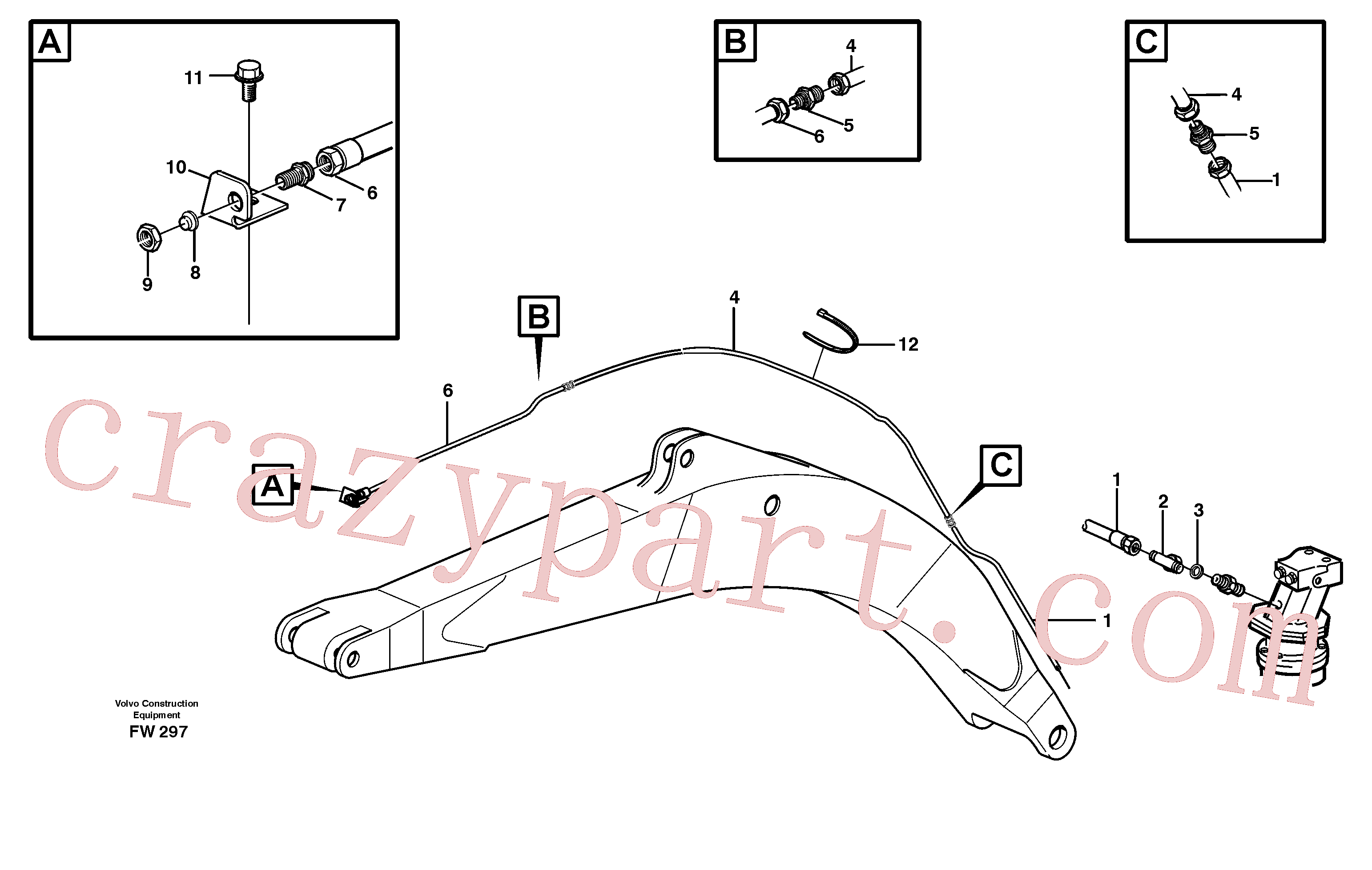 VOE14342757 for Volvo Hydraulic system, leak-off line boom(FW297 assembly)