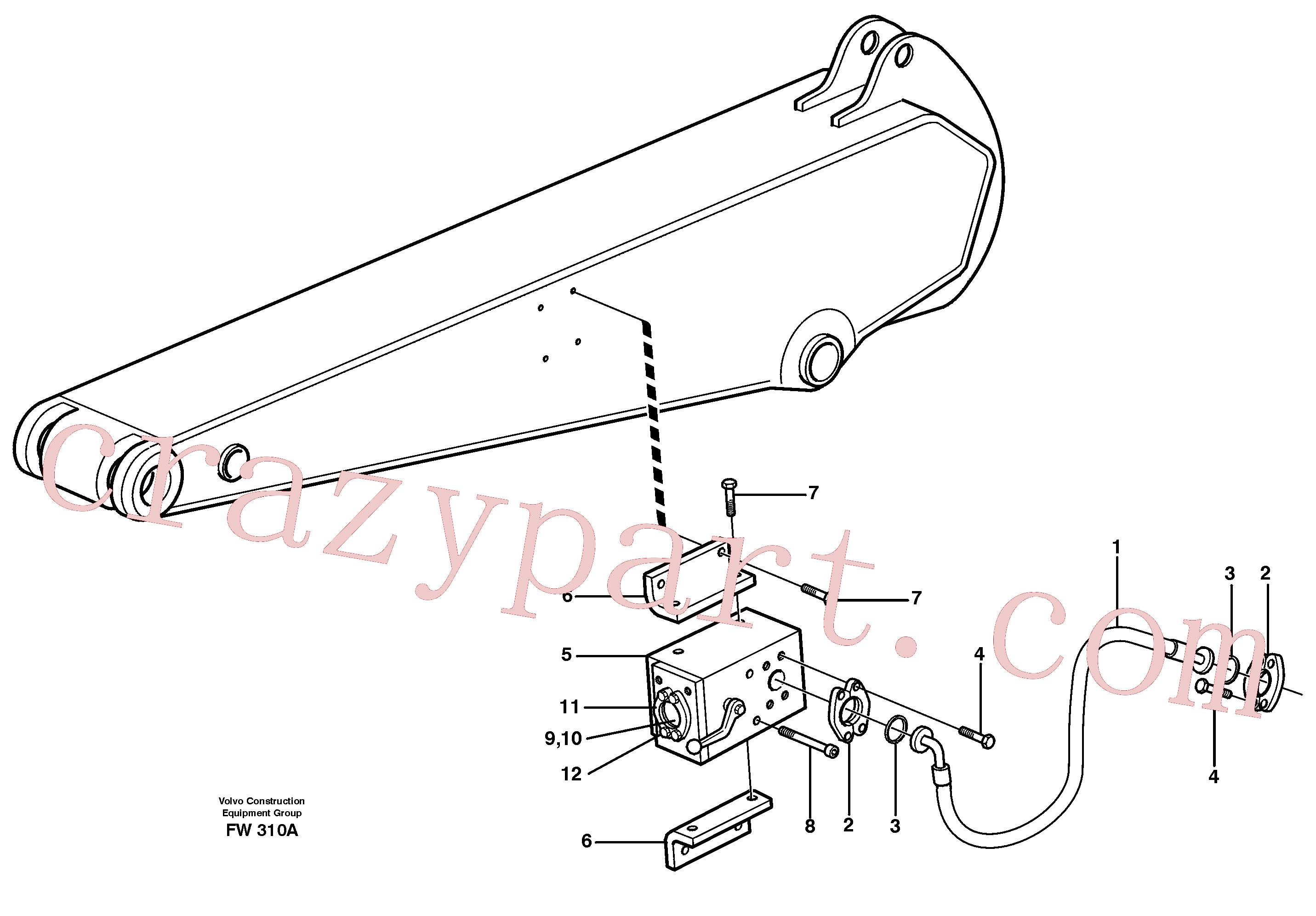 VOE14310135 for Volvo Hammer hydraulics on dipper arm(FW310A assembly)