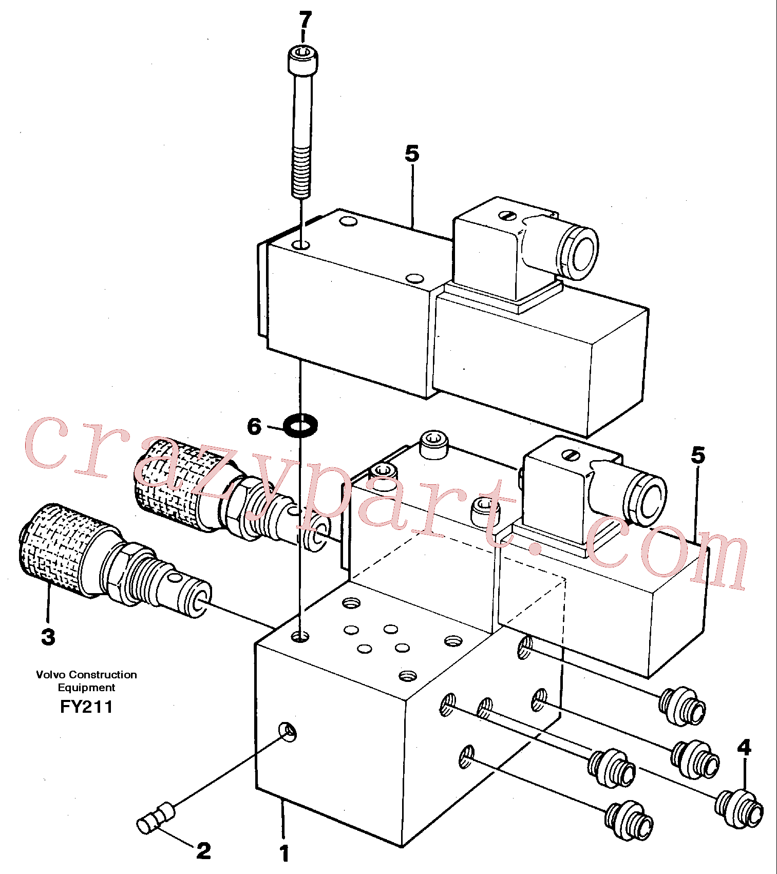 VOE14243113 for Volvo Control block, end pos. dampening(FY211 assembly)