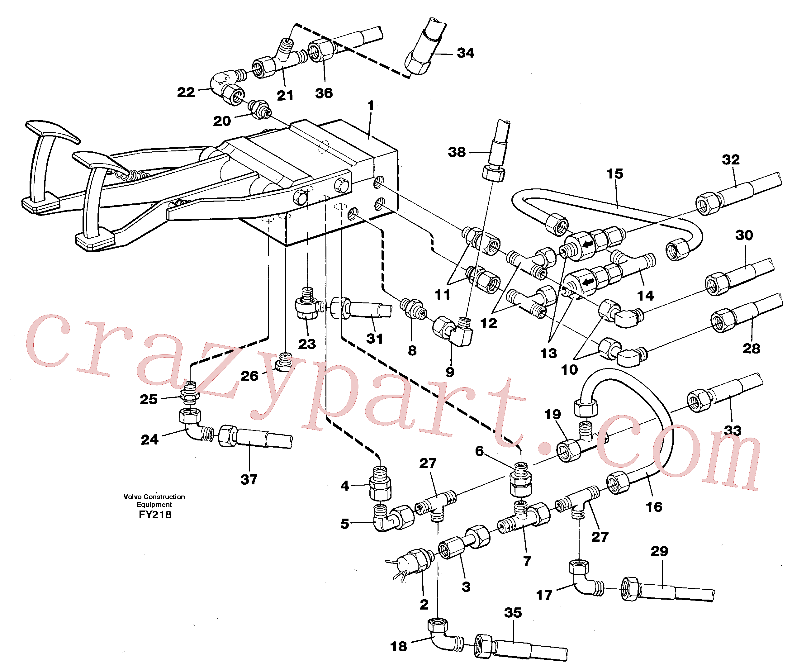 VOE14250293 for Volvo Pedal valve with connections(FY218 assembly)