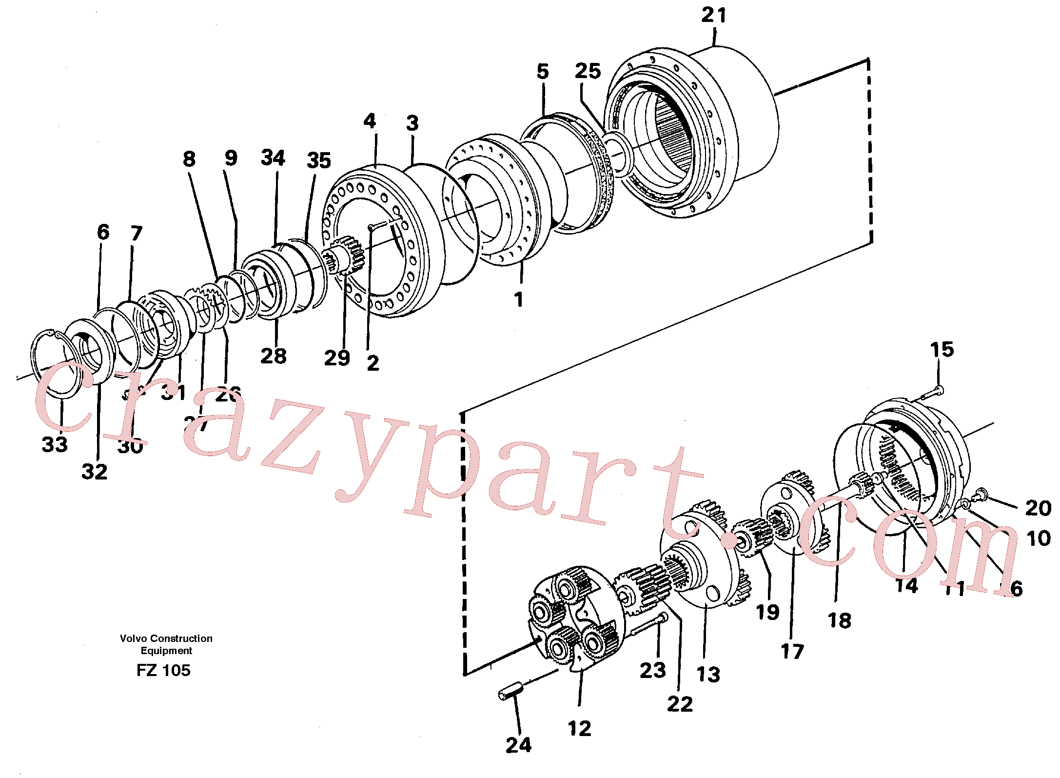 RM70921267 for Volvo Planetary drive(FZ105 assembly)