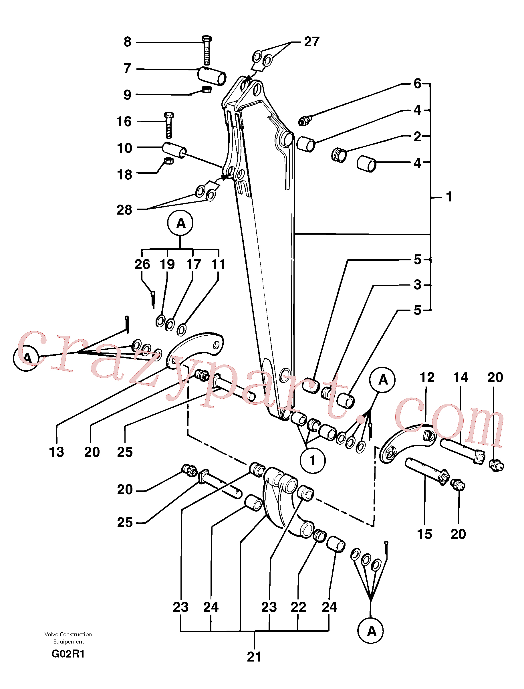 VOE11805829 for Volvo Dipper arm(G02R1 assembly)