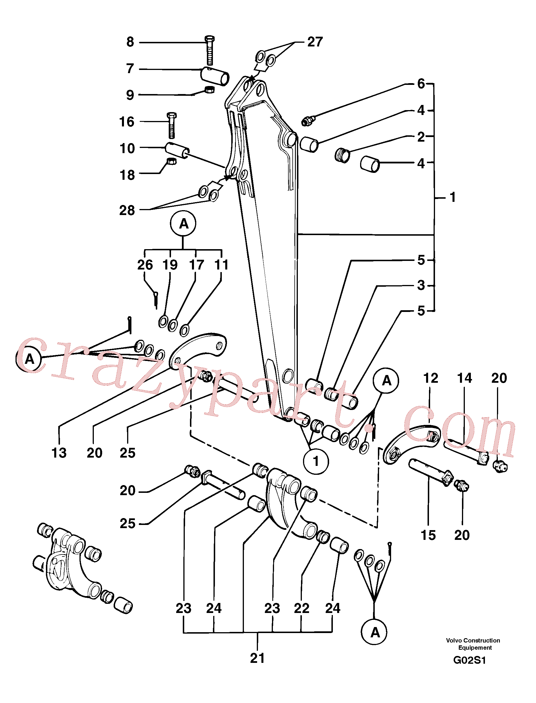 VOE11805829 for Volvo Dipper arm(G02S1 assembly)