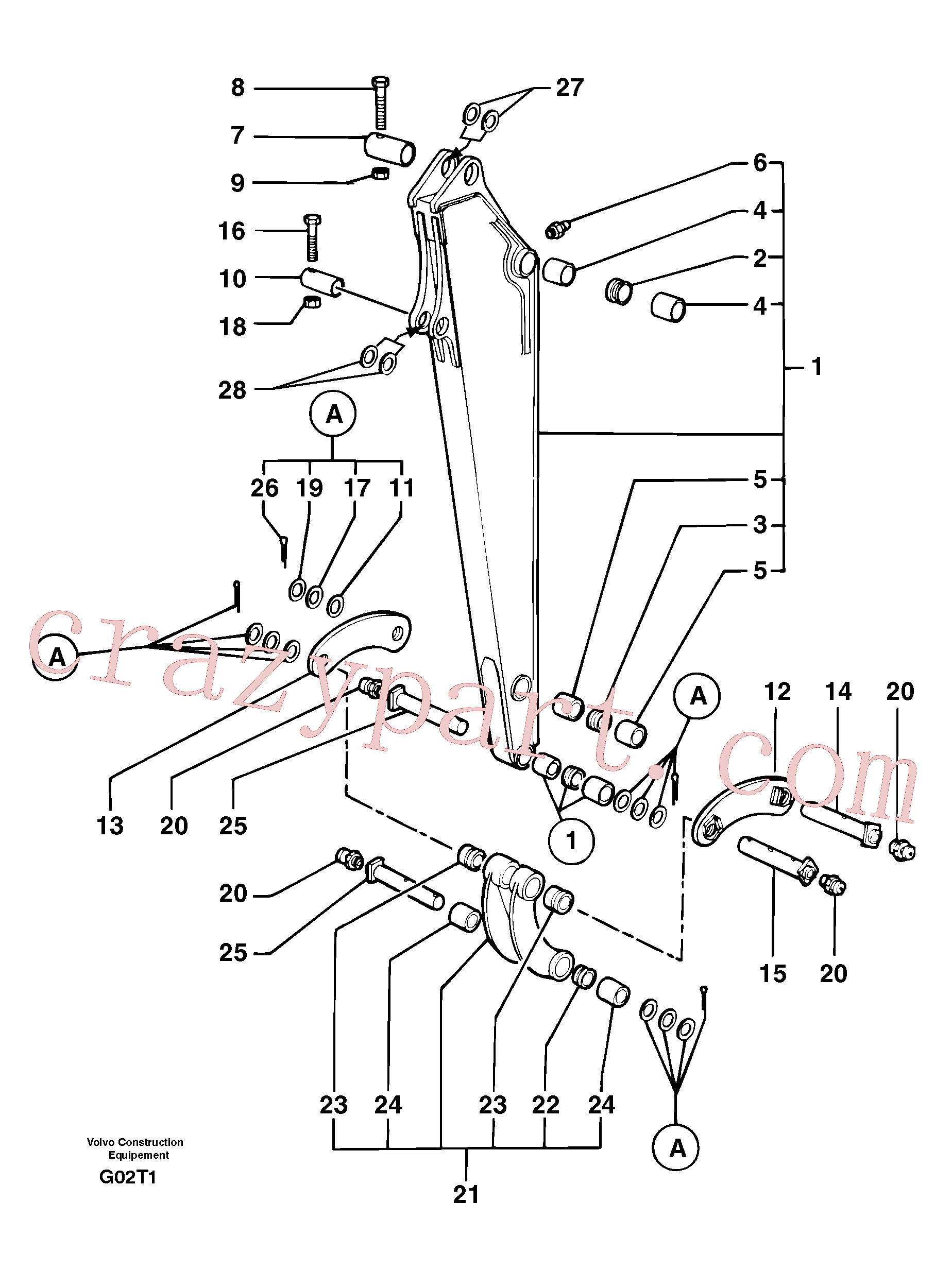 VOE11805829 for Volvo Dipper arm(G02T1 assembly)