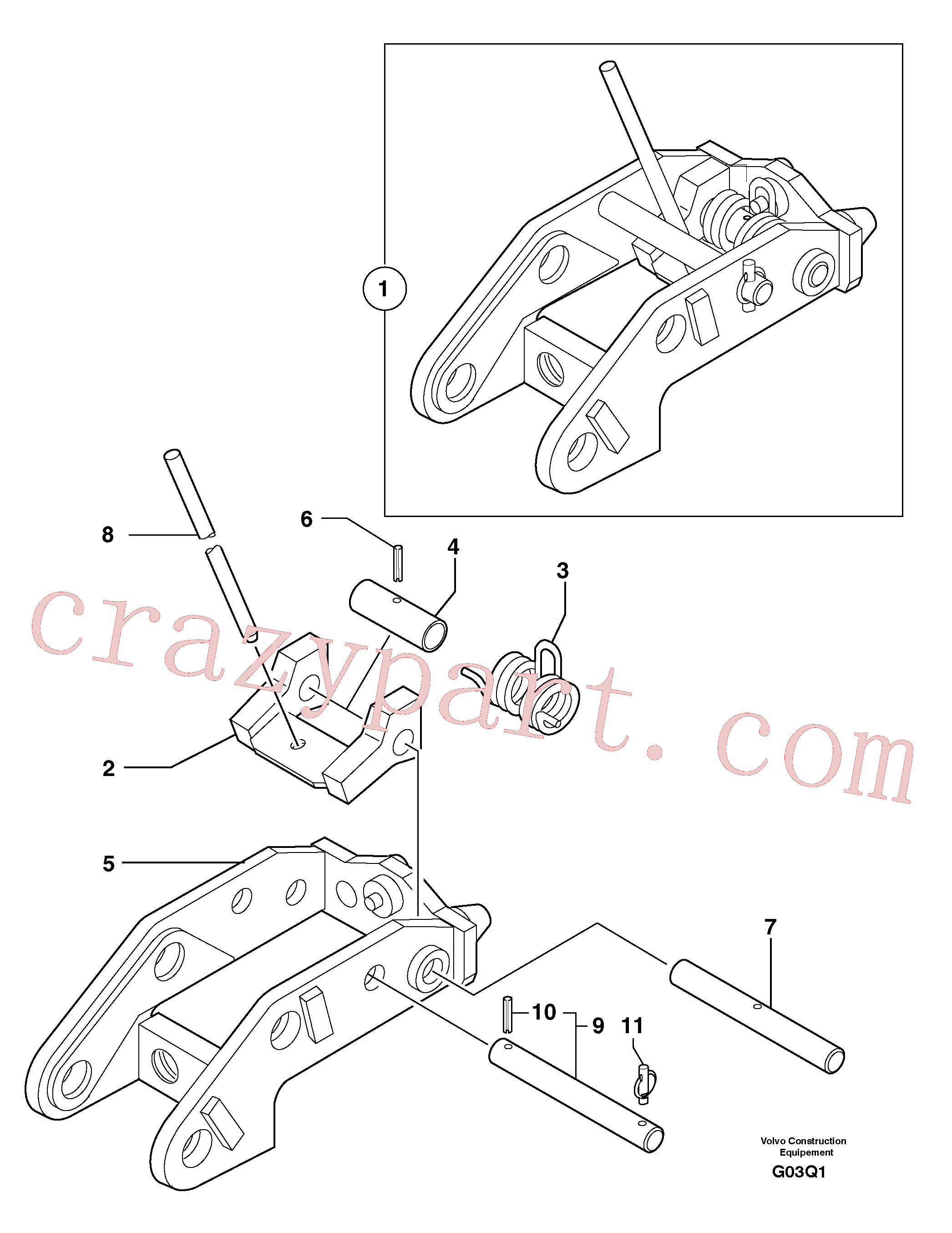 PJ3740043 for Volvo Tool holder / mechanical control(G03Q1 assembly)