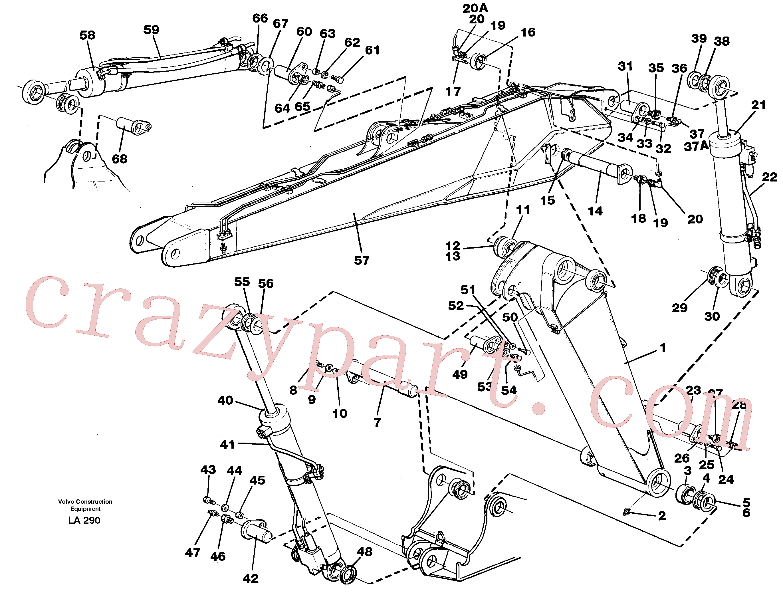VOE14047688 for Volvo Adjustable boom with assembly(LA290 assembly)