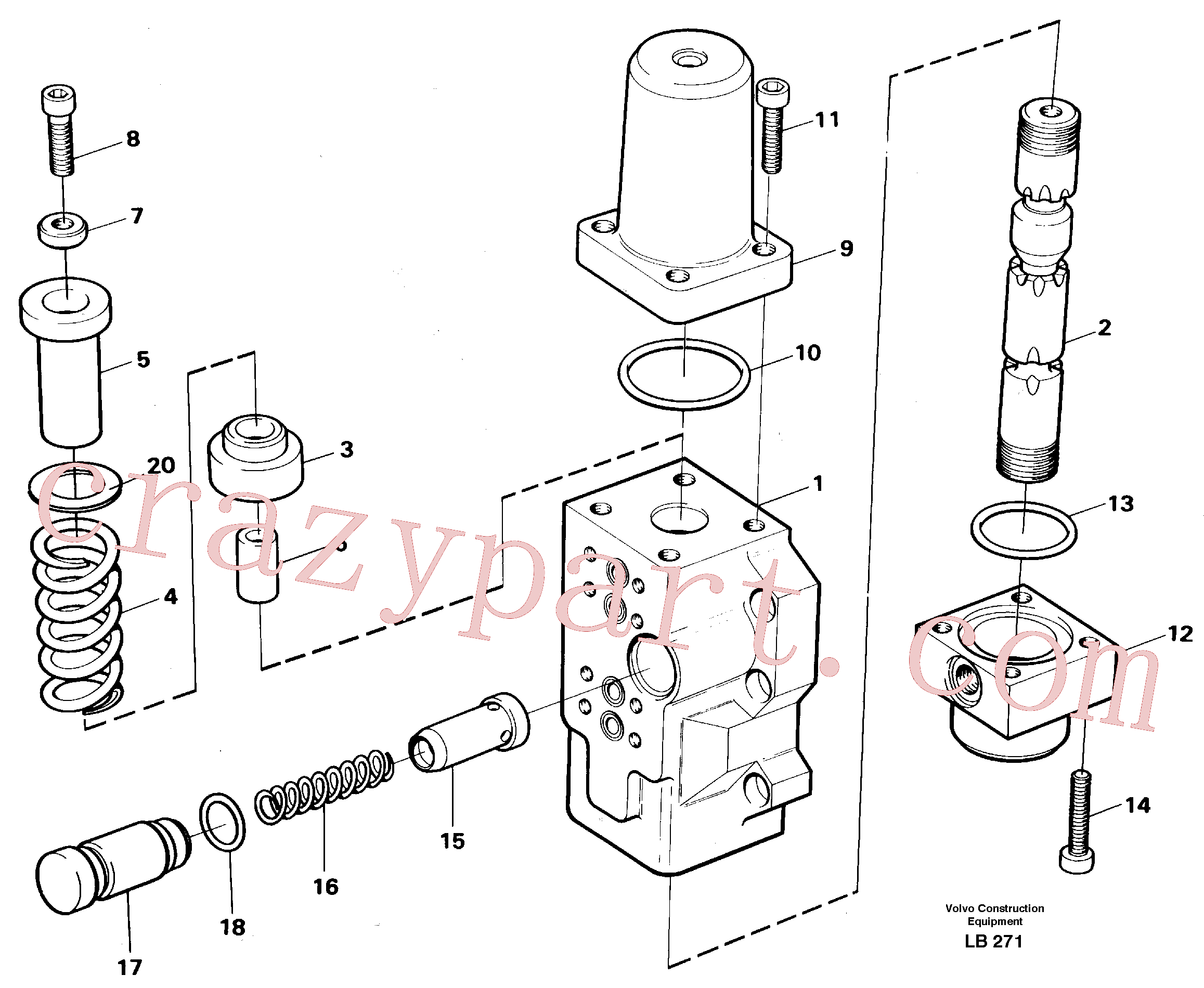 VOE14040428 for Volvo Four-way valve for slewing(LB271 assembly)