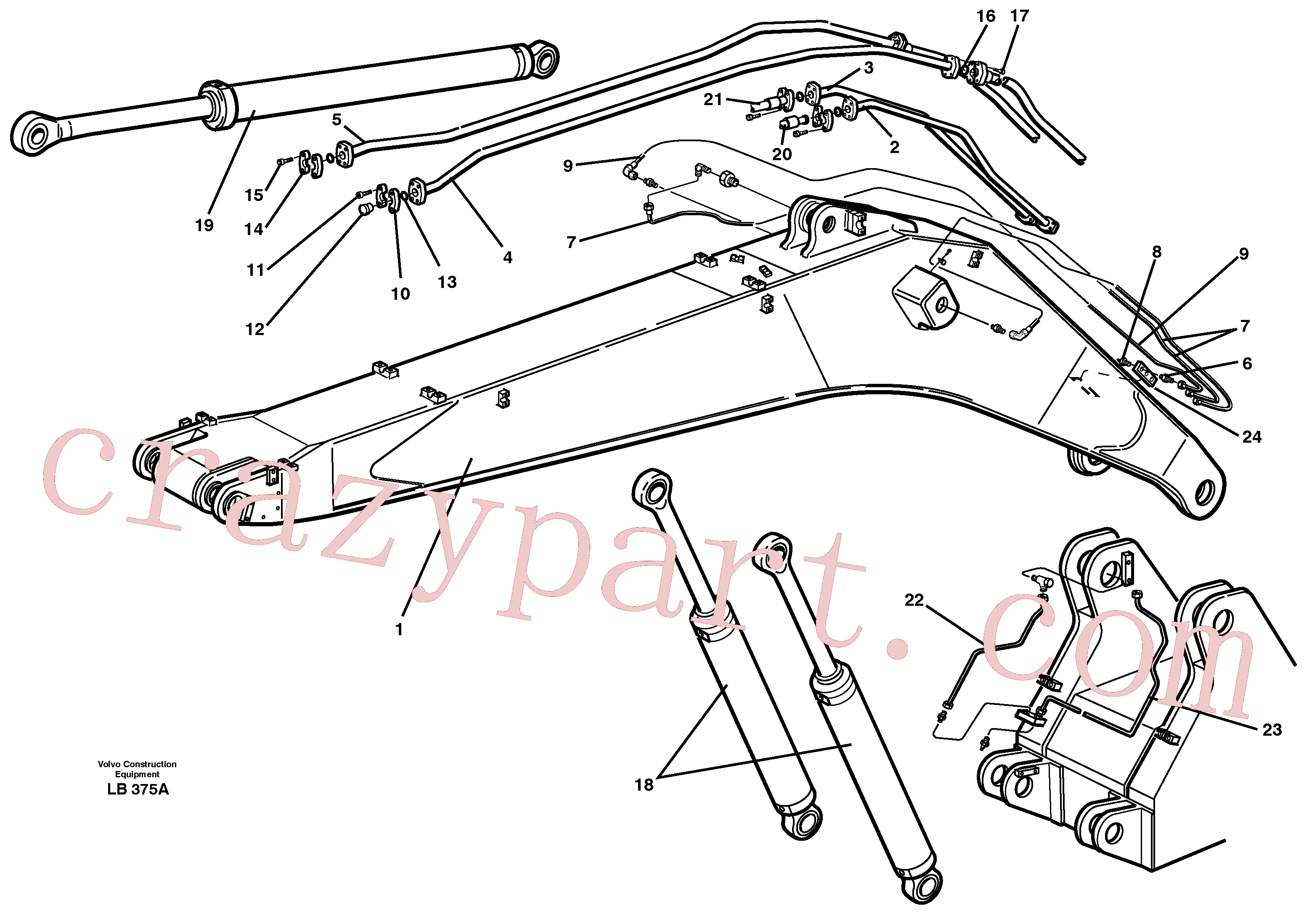VOE14239793 for Volvo Tubes, assembly, backhoe boom(LB375A assembly)