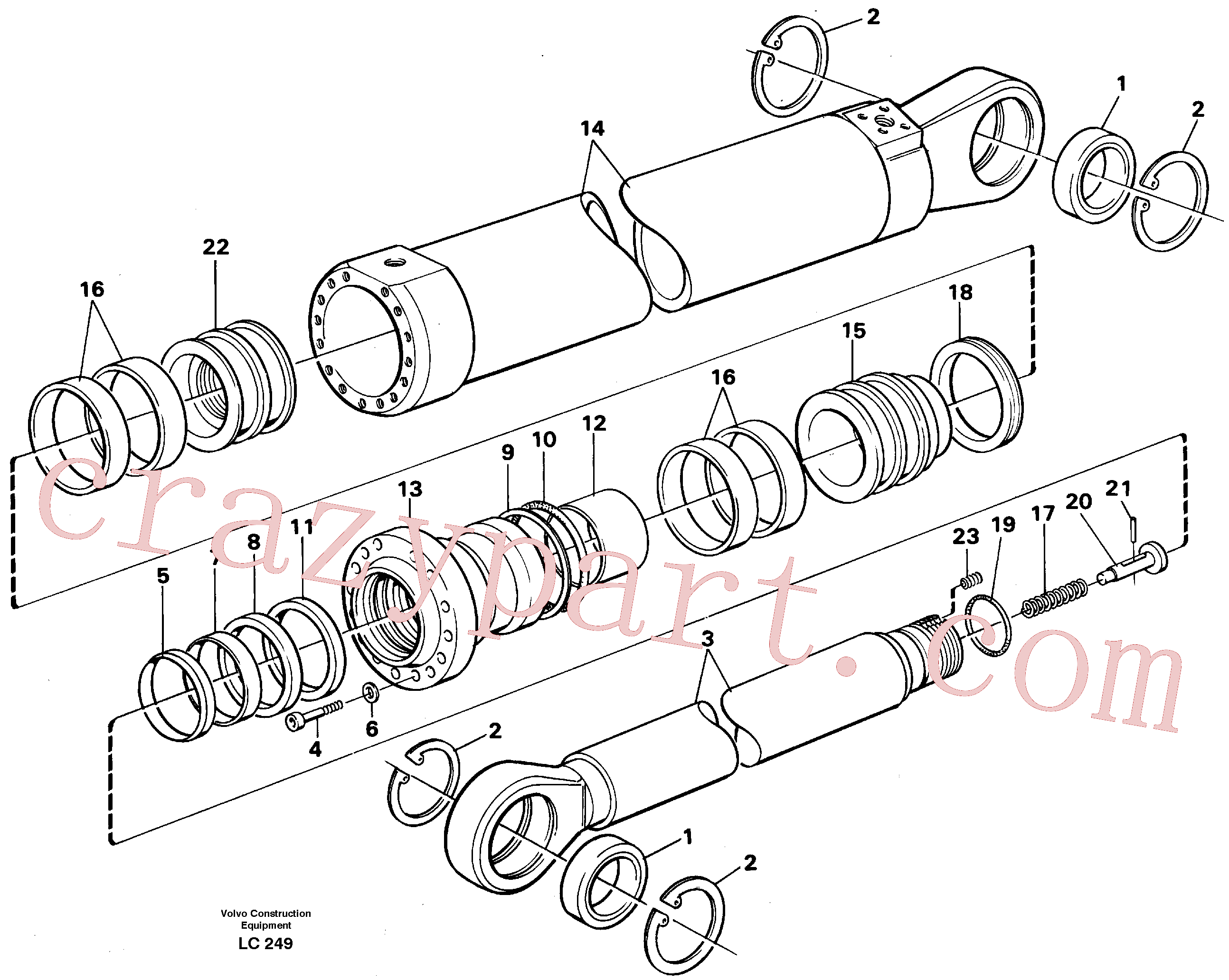 VOE14252335 for Volvo Dipper arm cylinder, material handling equipment(LC249 assembly)