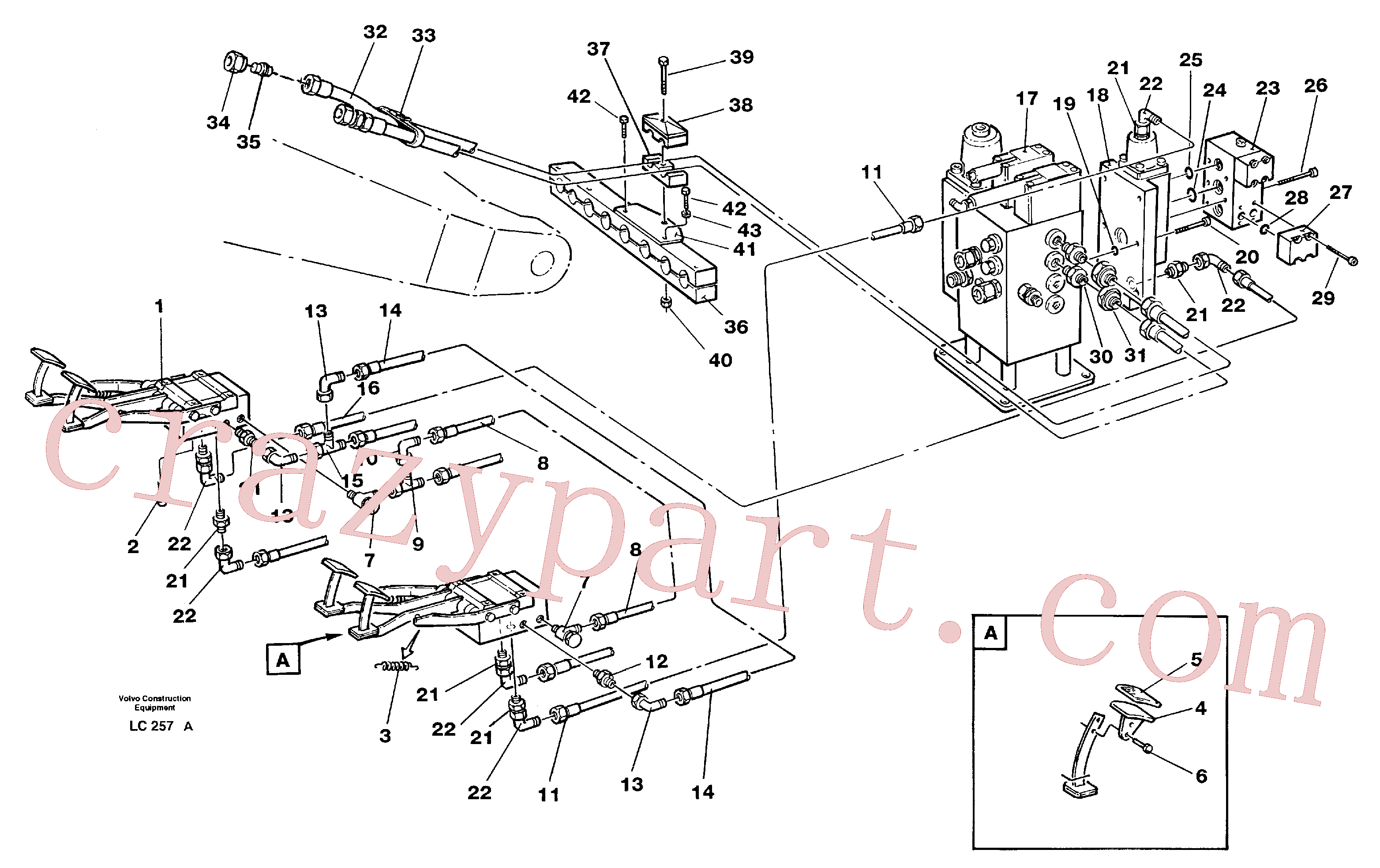 VOE14211062 for Volvo Pedal operated slope bucket hydraulics in base machine(LC257A assembly)