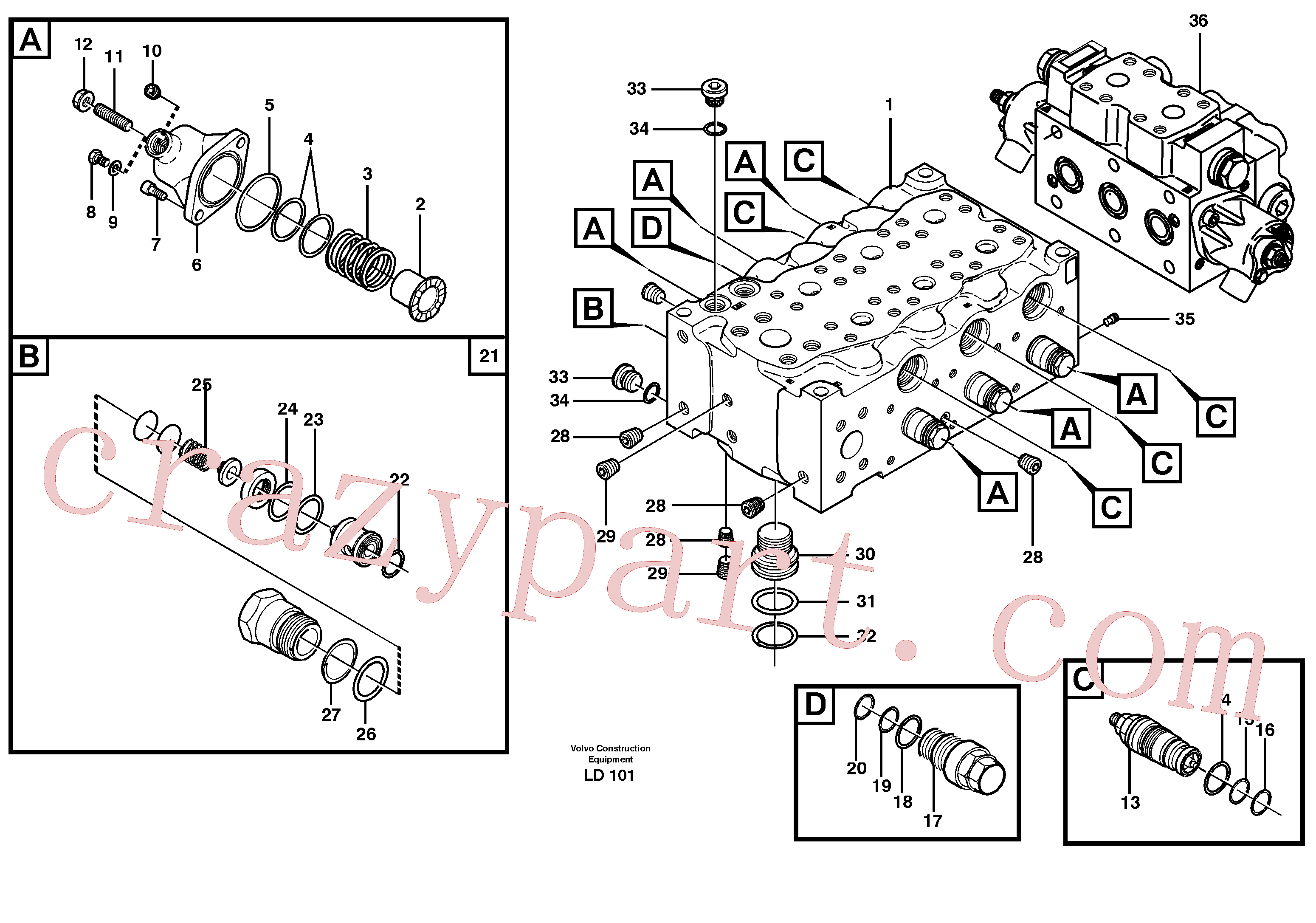 VOE11704836 for Volvo Main valve assembly, B(LD101 assembly)