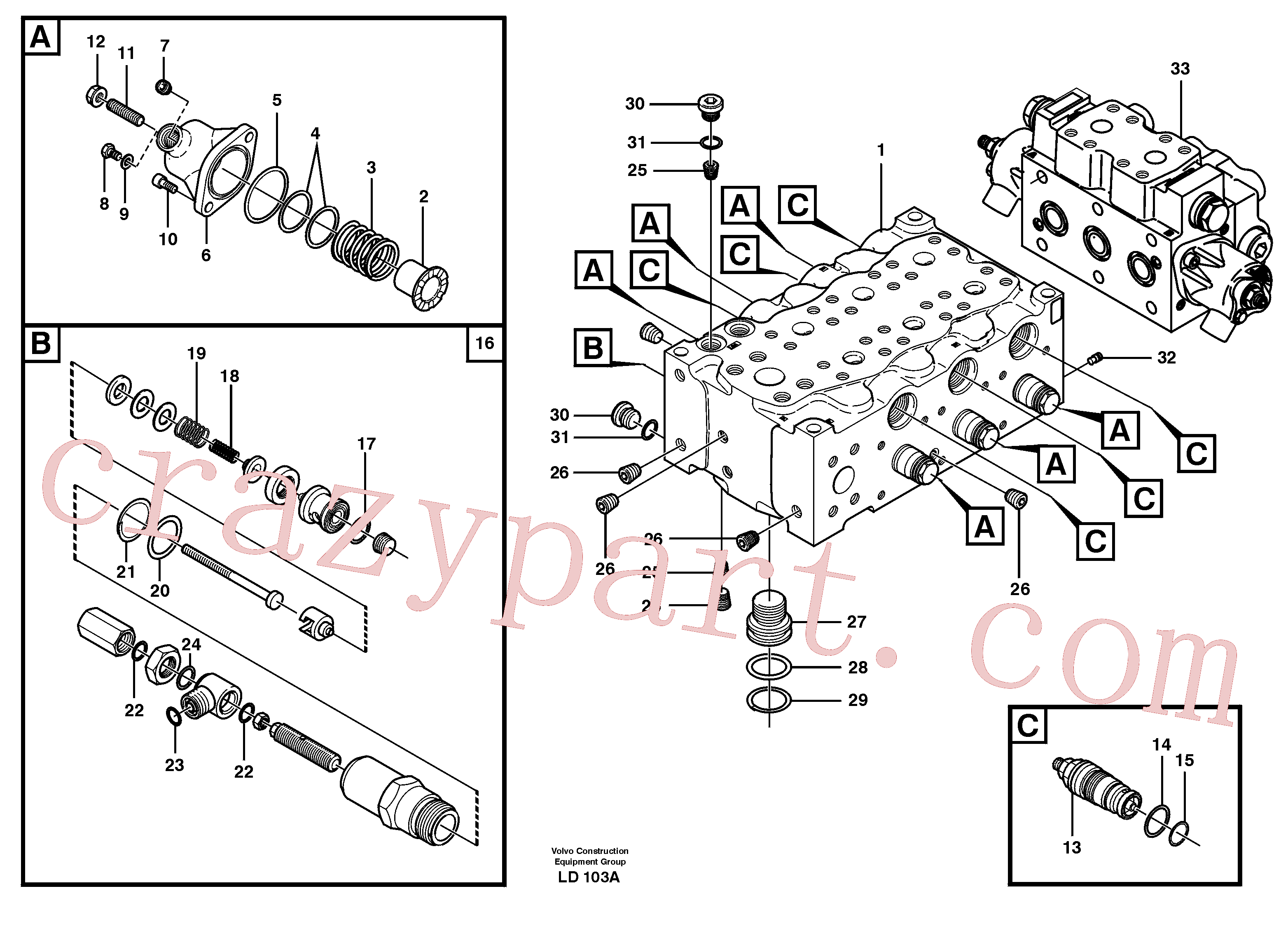 VOE11704836 for Volvo Main valve assembly, A(LD103A assembly)