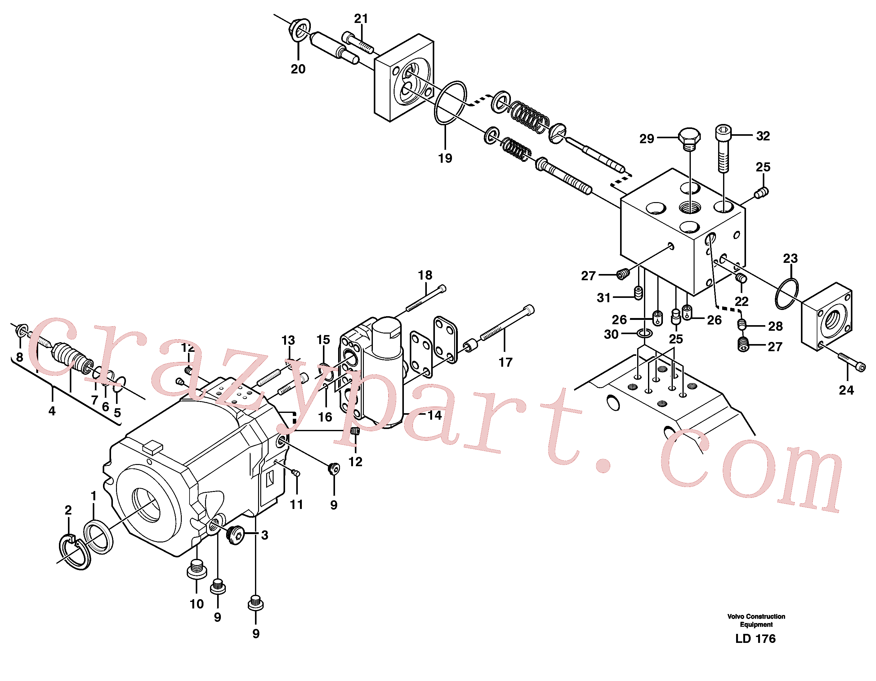 VOE11705602 for Volvo Hydraulic motor, travel(LD176 assembly)