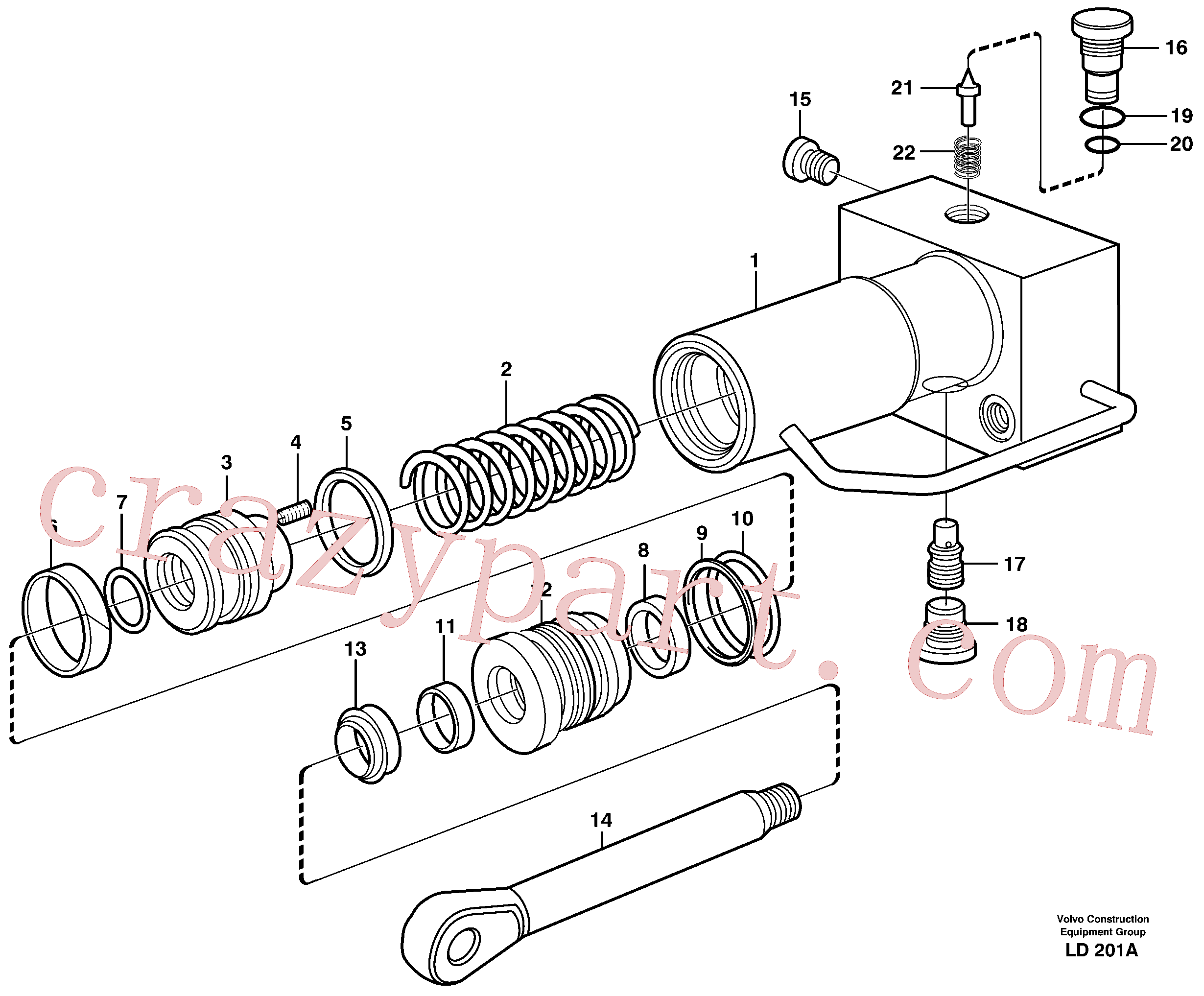 VOE11707592 for Volvo Hydraulic cylinder, quick attachment(LD201A assembly)