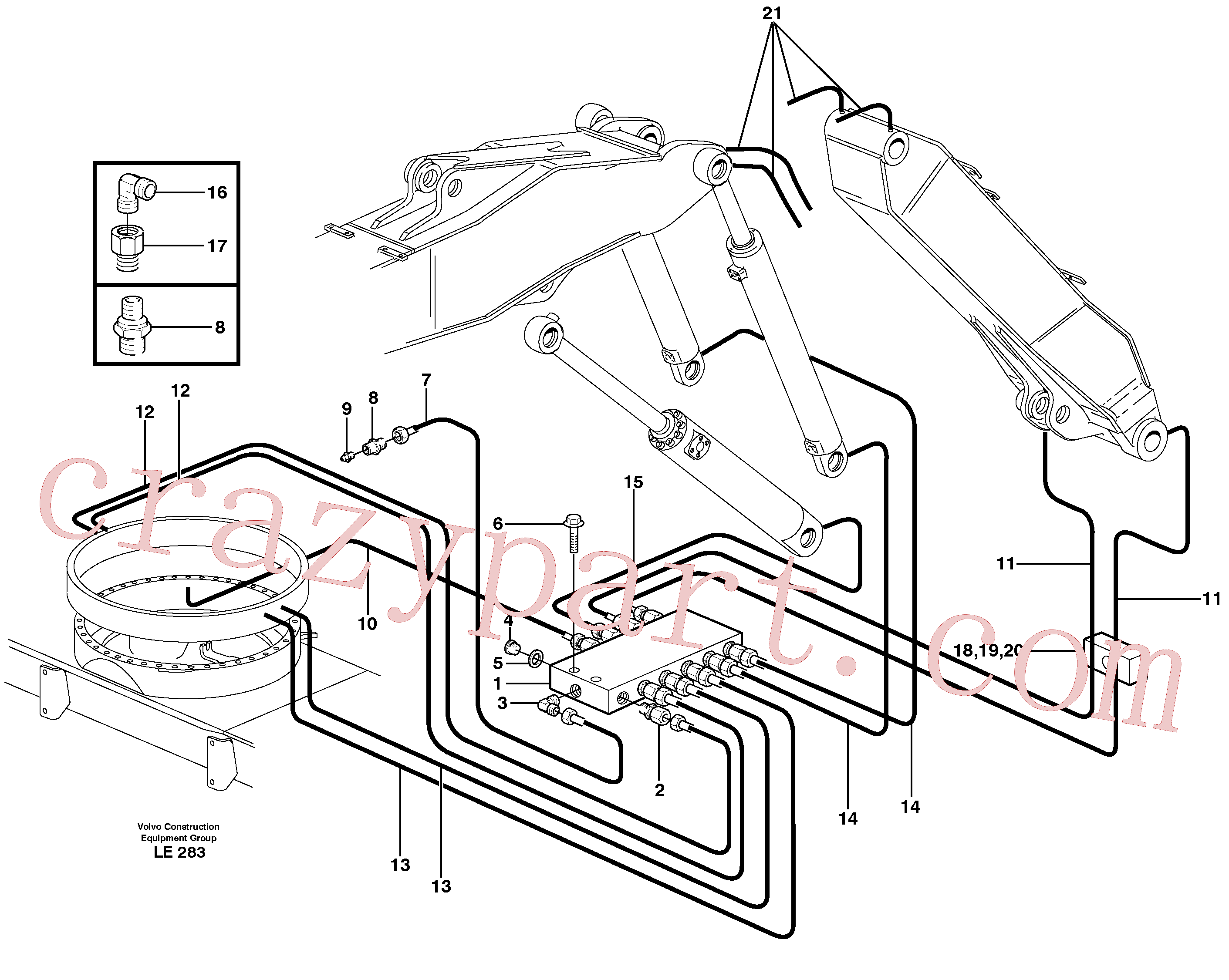 VOE14371074 for Volvo Central lubrication. slewing, adjustable boom(LE283 assembly)