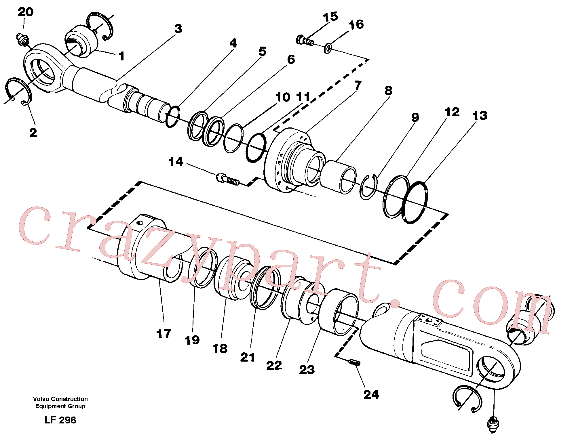 VOE14265492 for Volvo Knuckle cylinder(LF296 assembly)