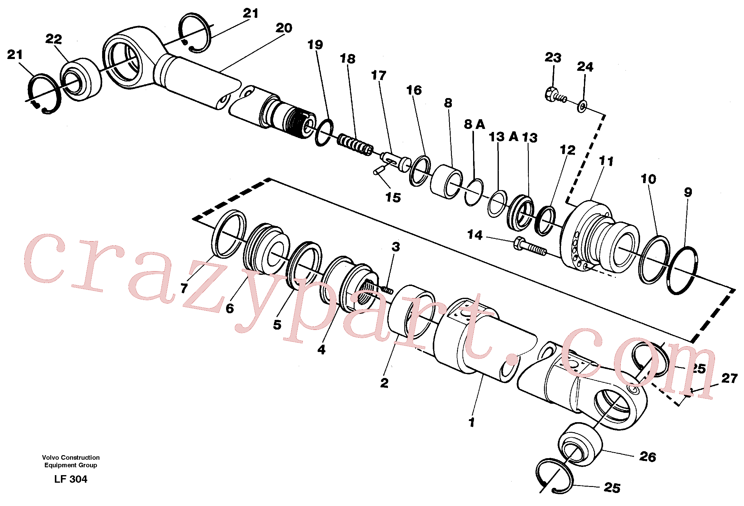 VOE14345818 for Volvo Bucket cylinder(LF304 assembly)